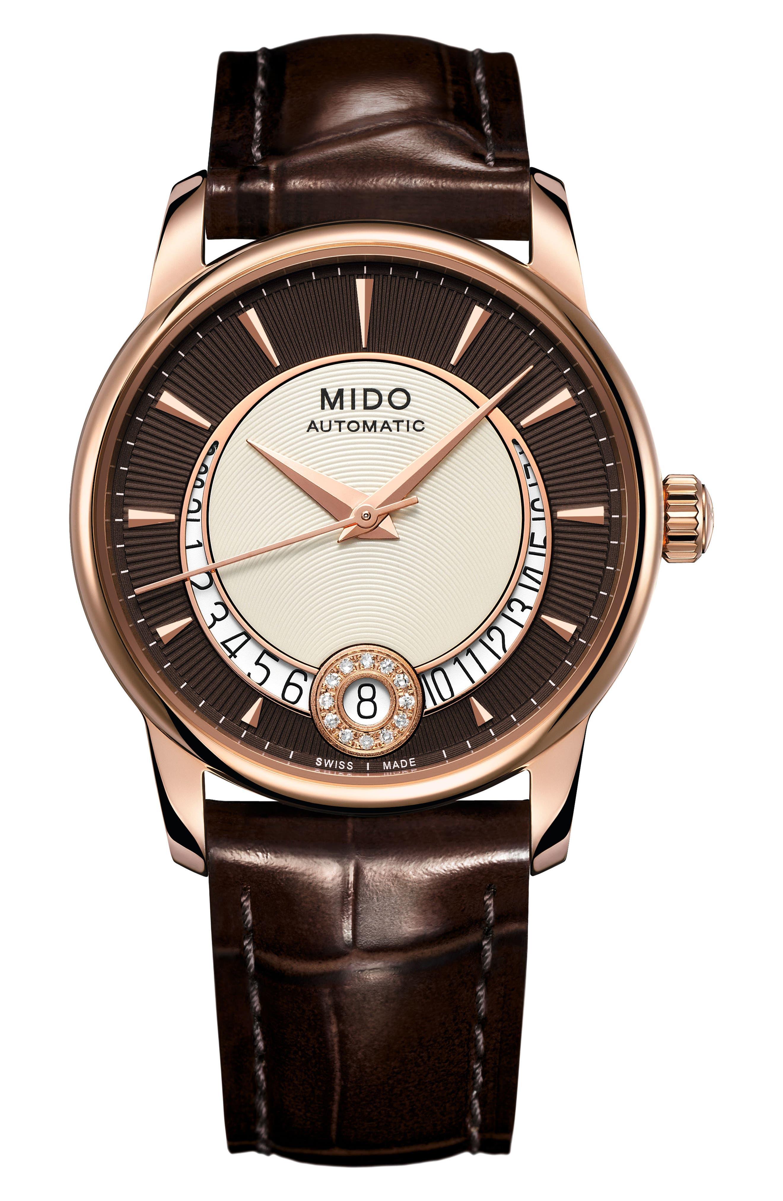 MIDO Baroncelli Automatic Diamond Leather Strap Watch, 33mm
