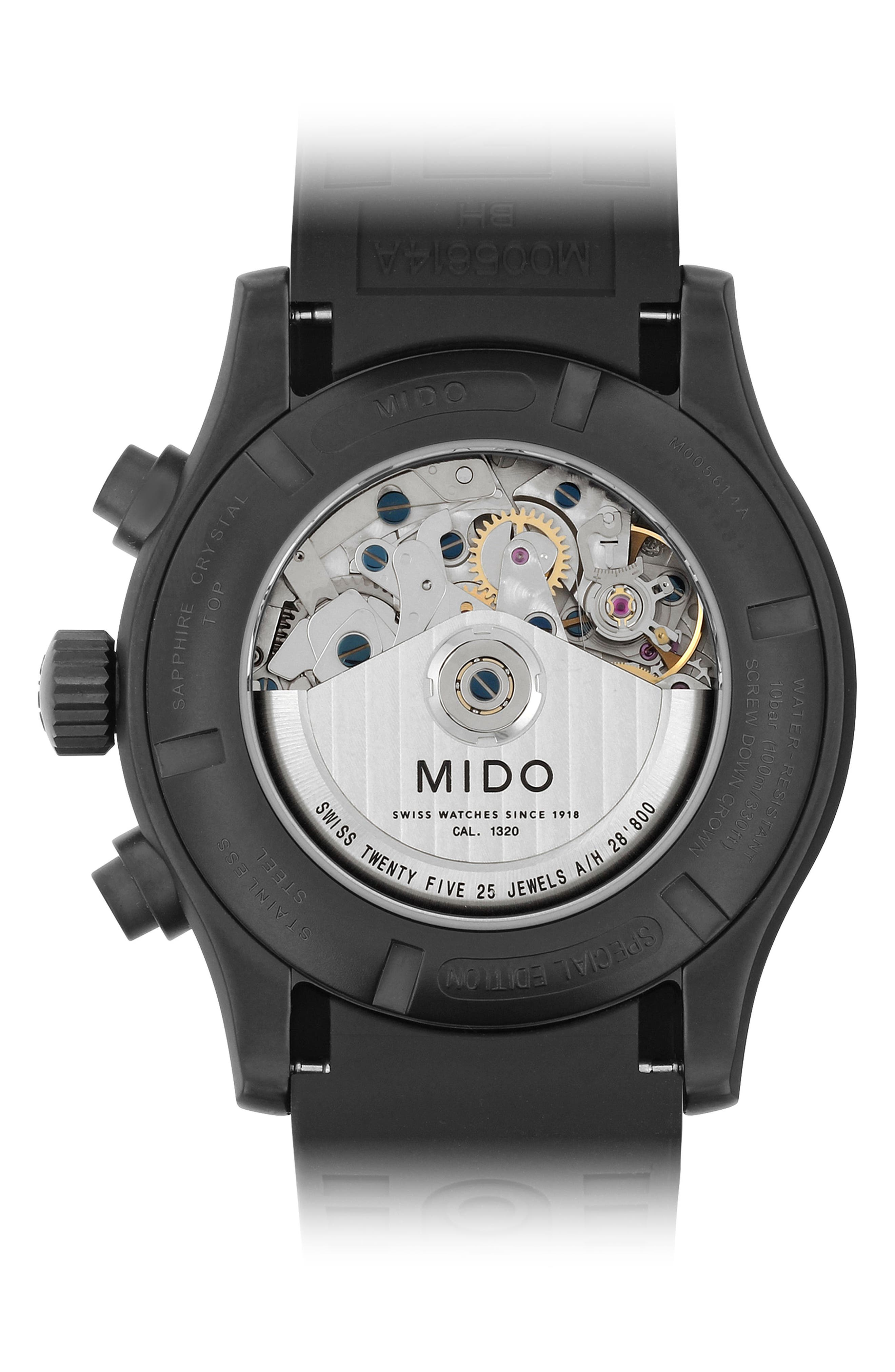 Multifort Chronograph Rubber Strap Watch, 44mm,                             Alternate thumbnail 3, color,                             Black