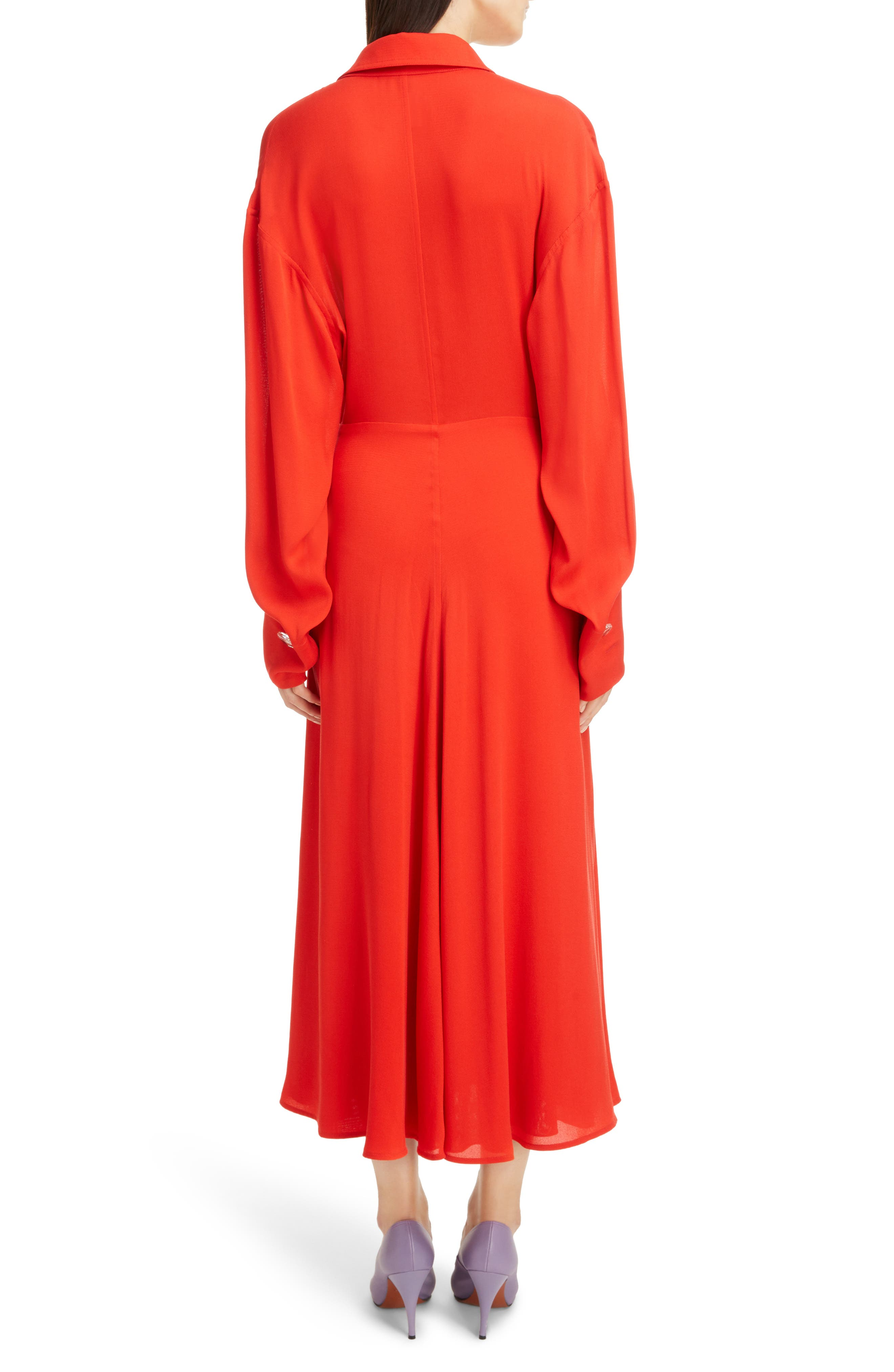 Twist Waist Silk Dress,                             Alternate thumbnail 6, color,                             Bright Red