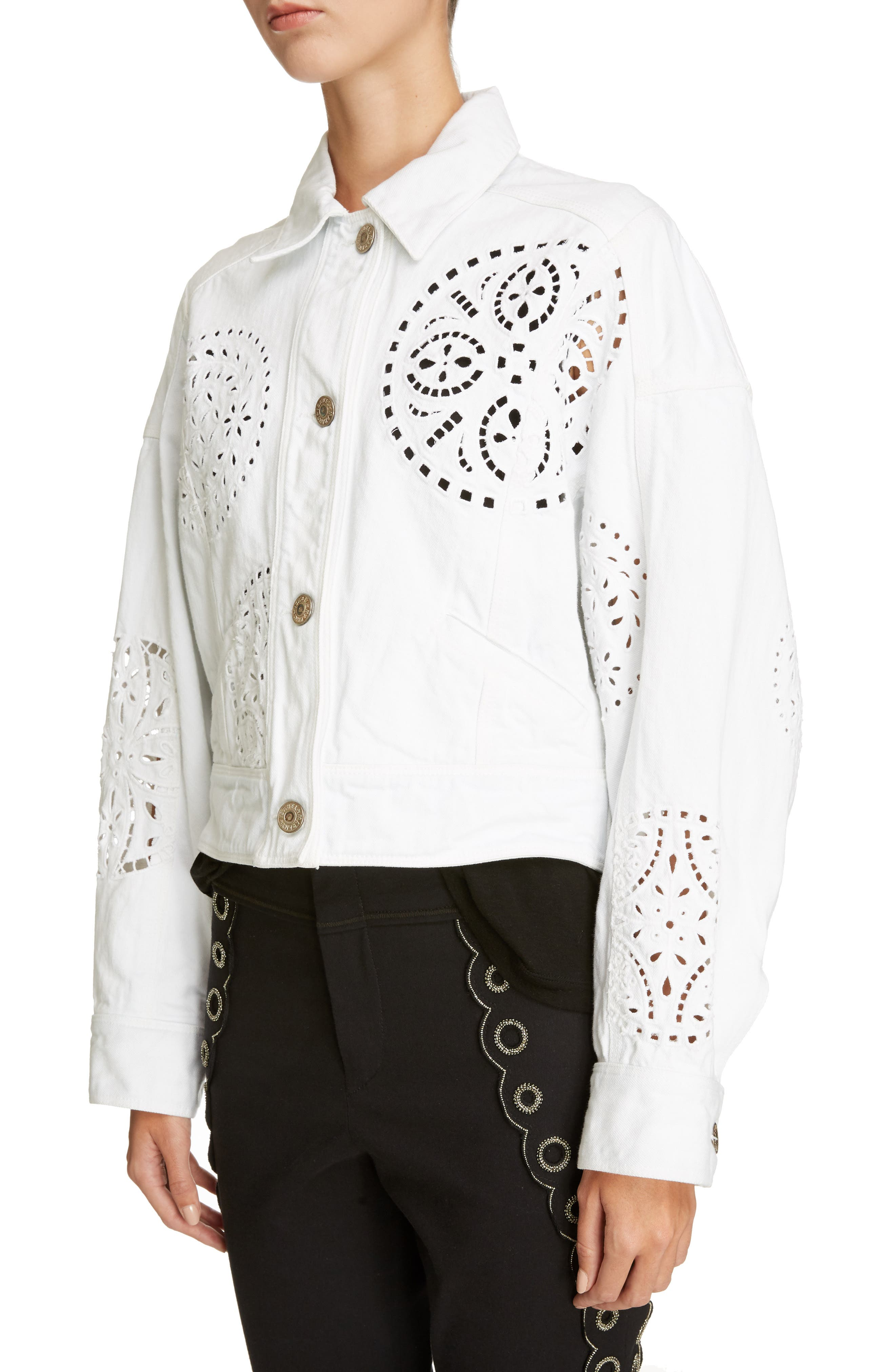 Broderie Anglaise Denim Jacket,                             Alternate thumbnail 4, color,                             White