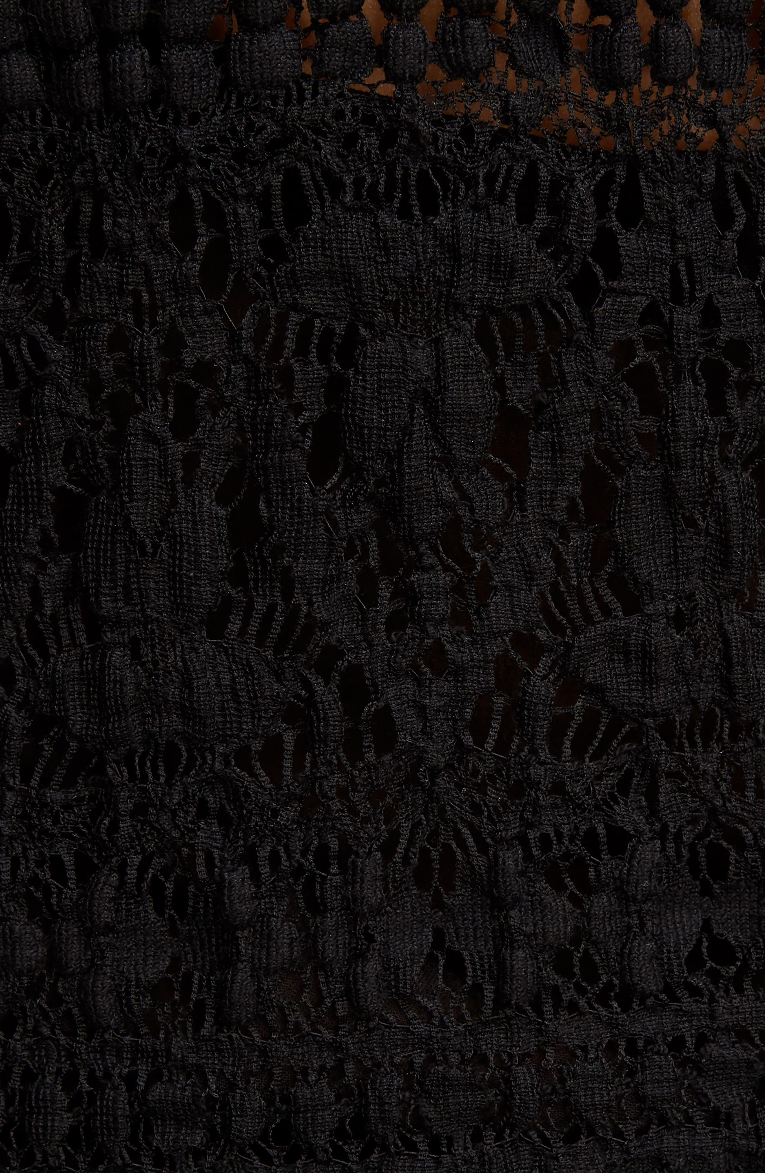 Stretch Lace Top,                             Alternate thumbnail 5, color,                             Black