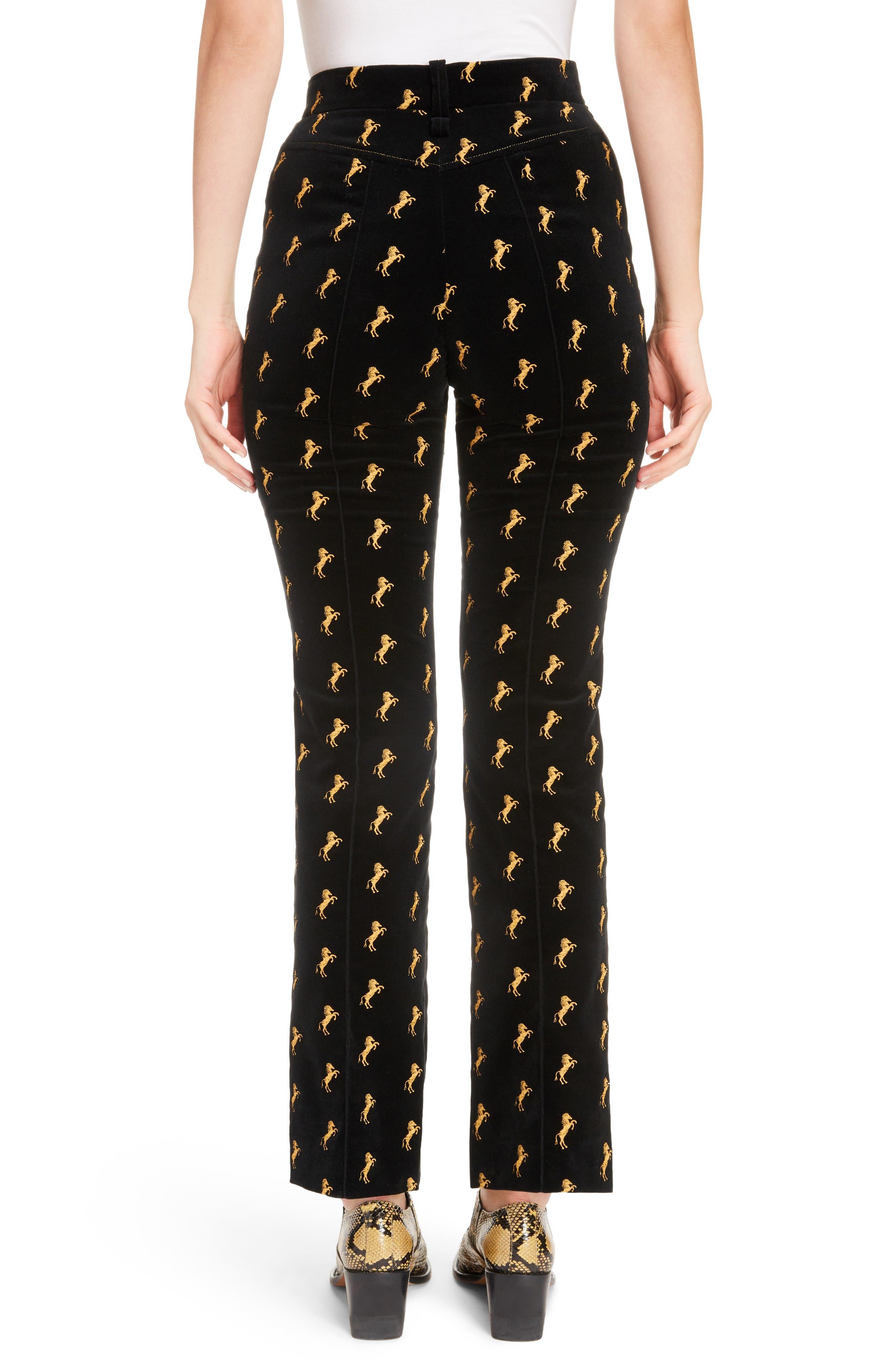 Horse Embroidered Velvet Pants,                             Alternate thumbnail 2, color,                             Black