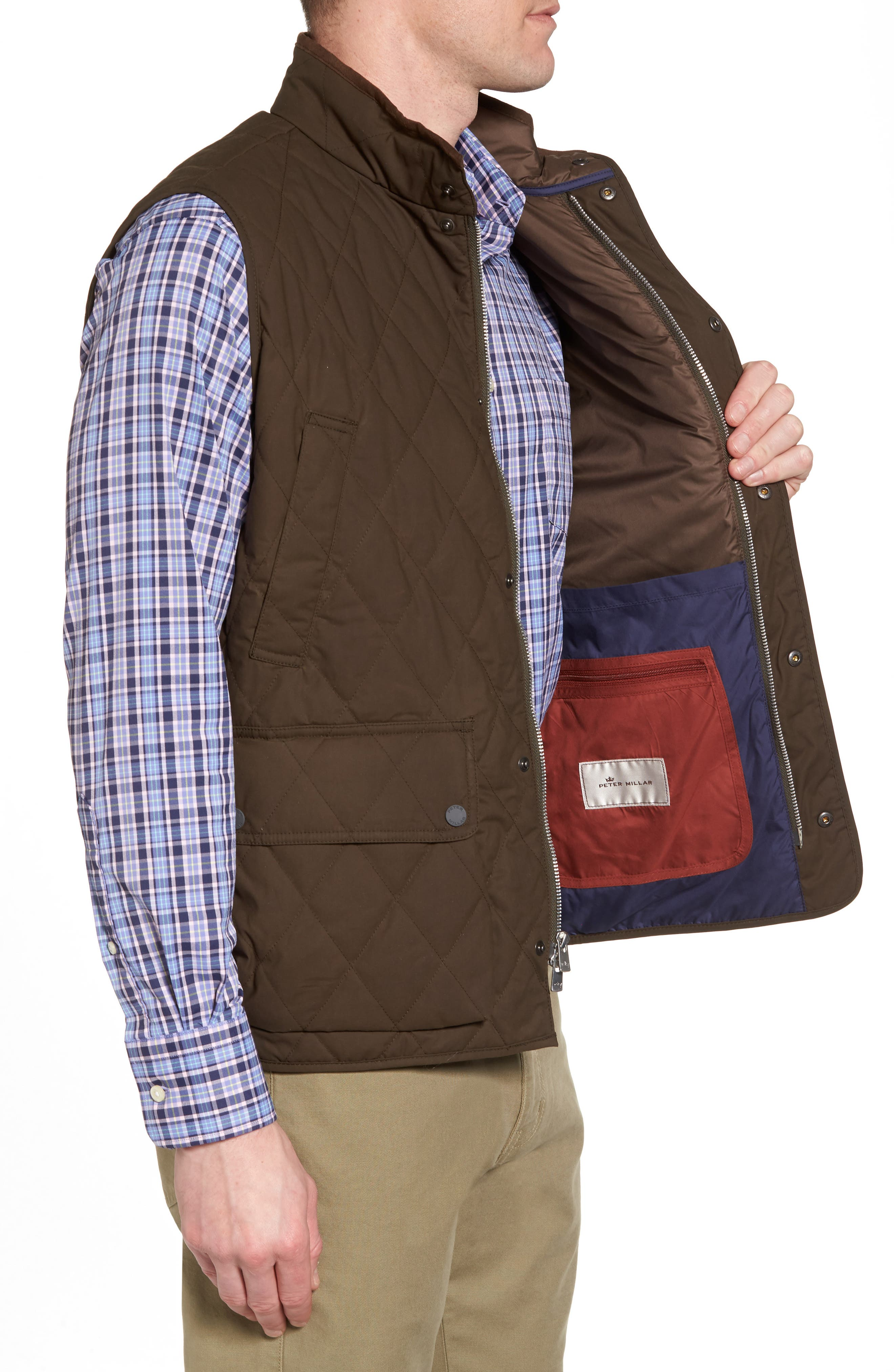 Keswick Waxed Cotton Quilted Vest,                             Alternate thumbnail 3, color,                             Dark Military