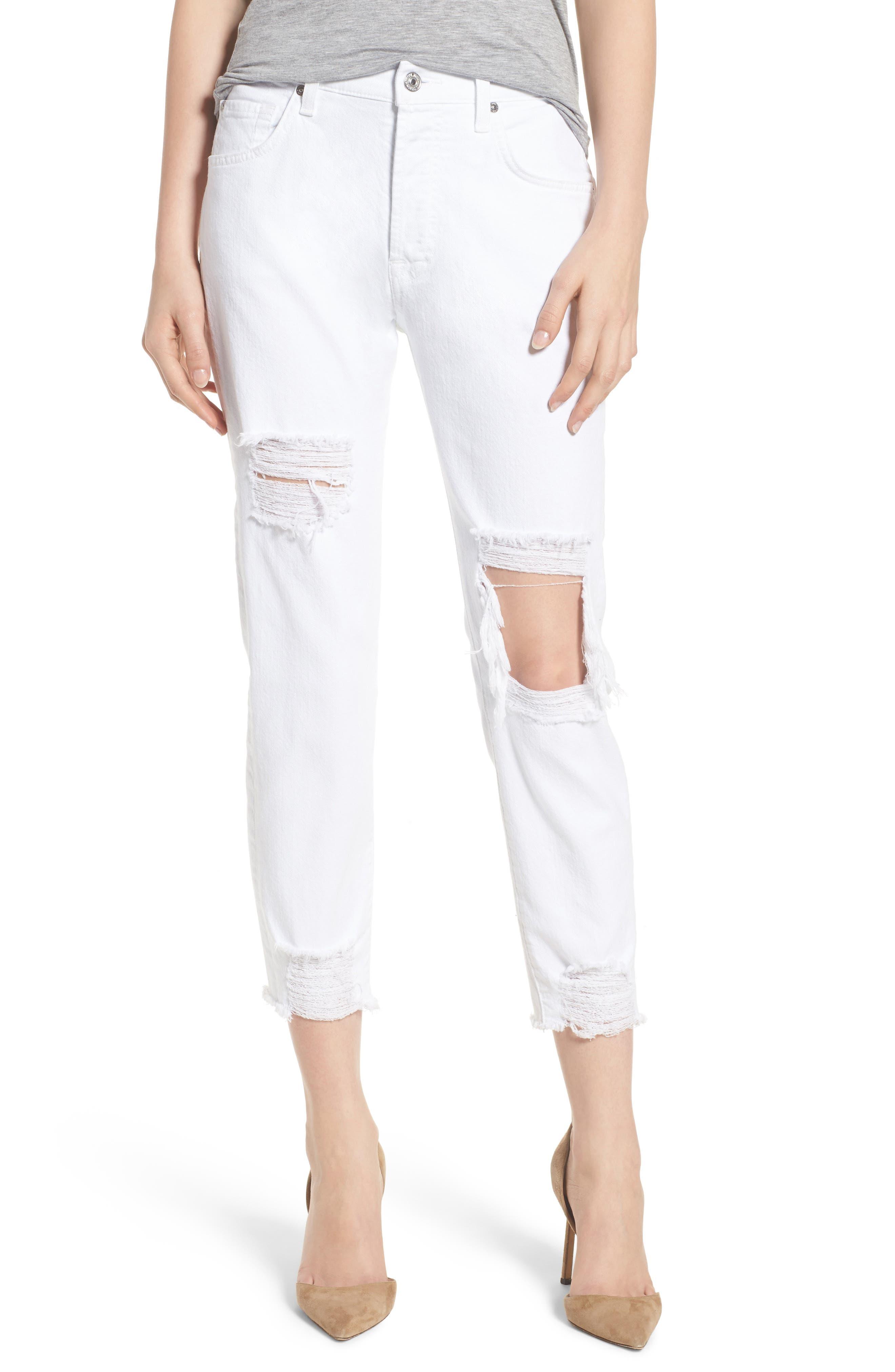 7 For All Mankind® Josefina High Waist Boyfriend Jeans (White Fashion 2)