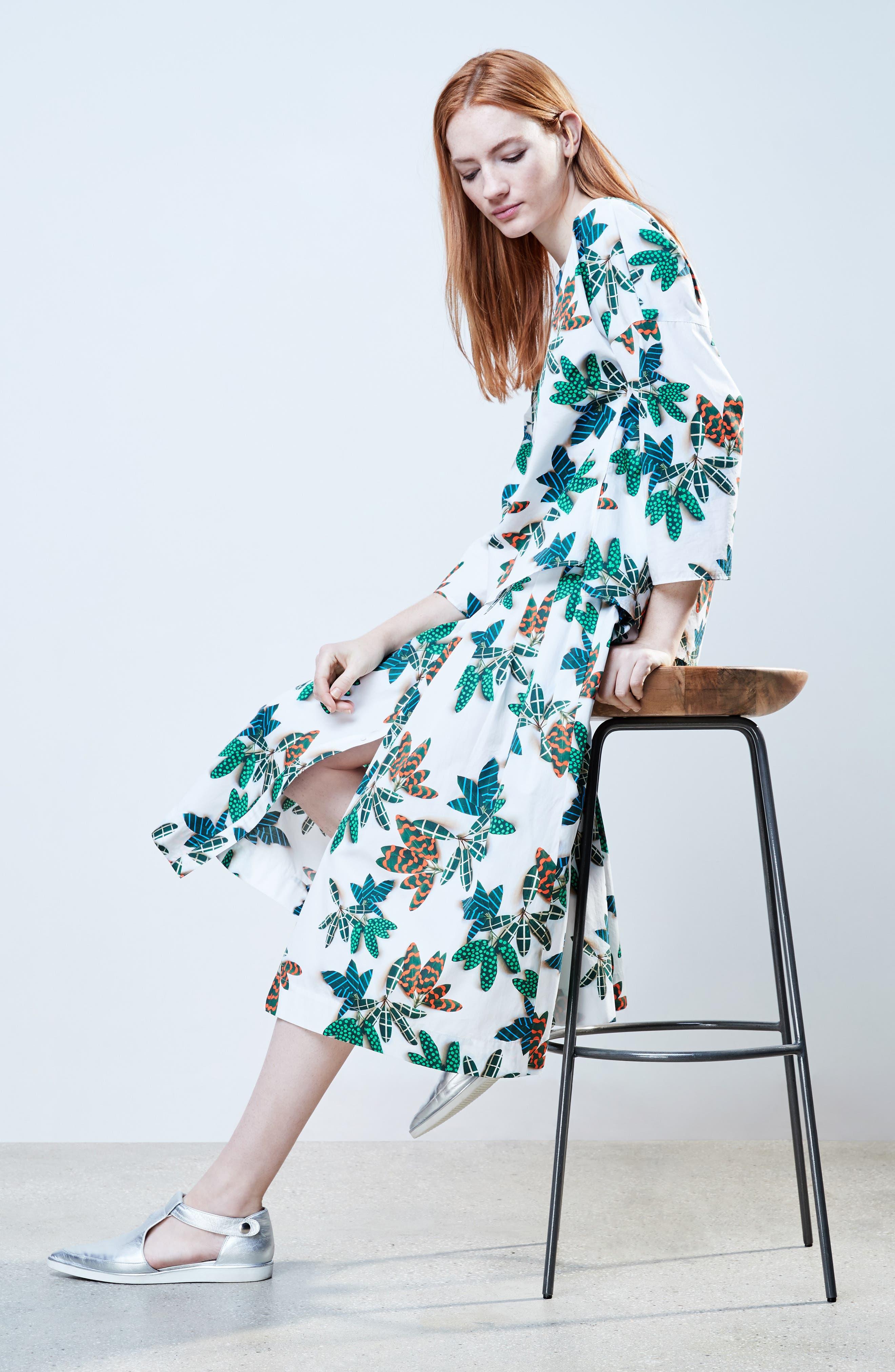 Alternate Image 2  - Akris punto Tropical Print Cotton Midi Skirt