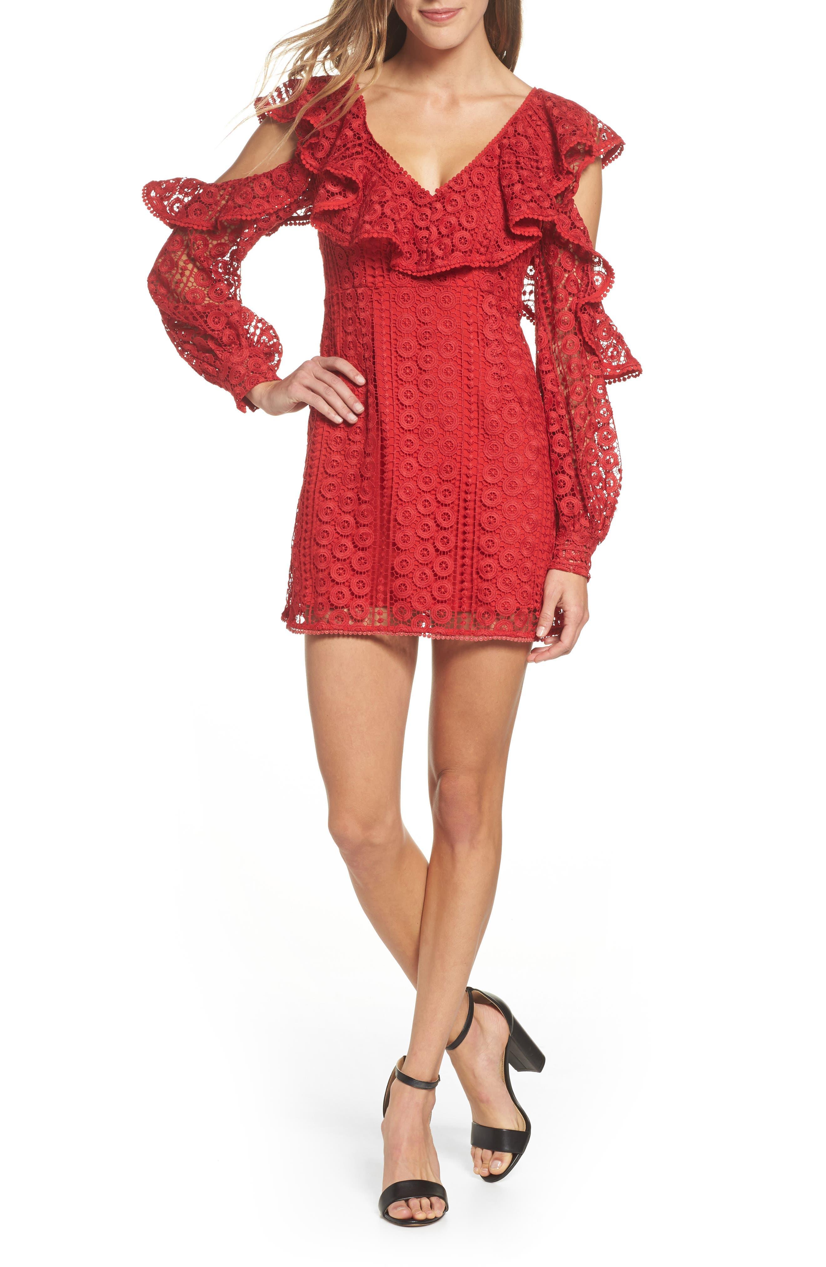 Massey Lace Cold Shoulder Minidress,                         Main,                         color, Blazer Red
