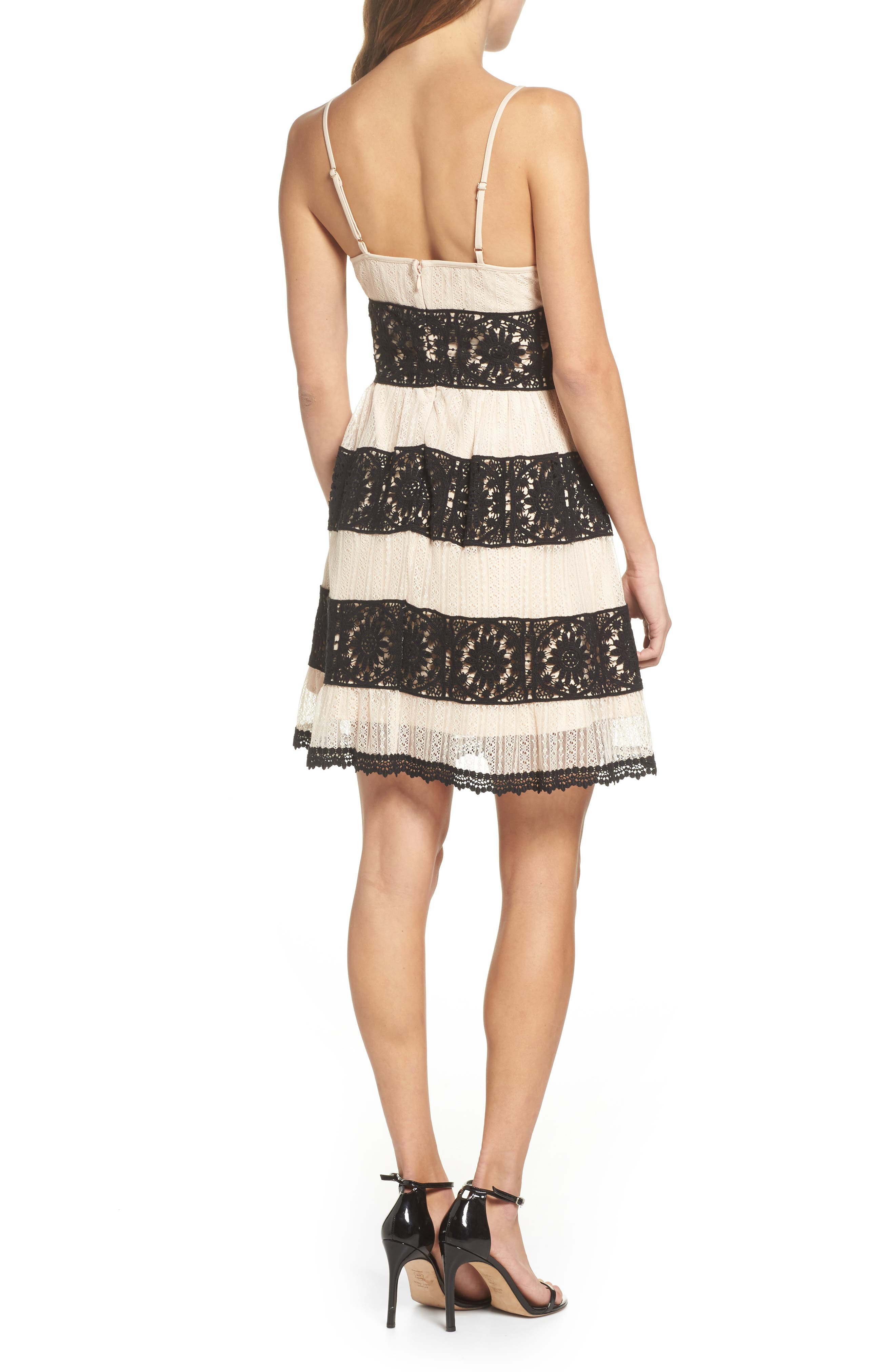 Ophelia Two-Tone Lace Fit & Flare Dress,                             Alternate thumbnail 2, color,                             Black/ Nude