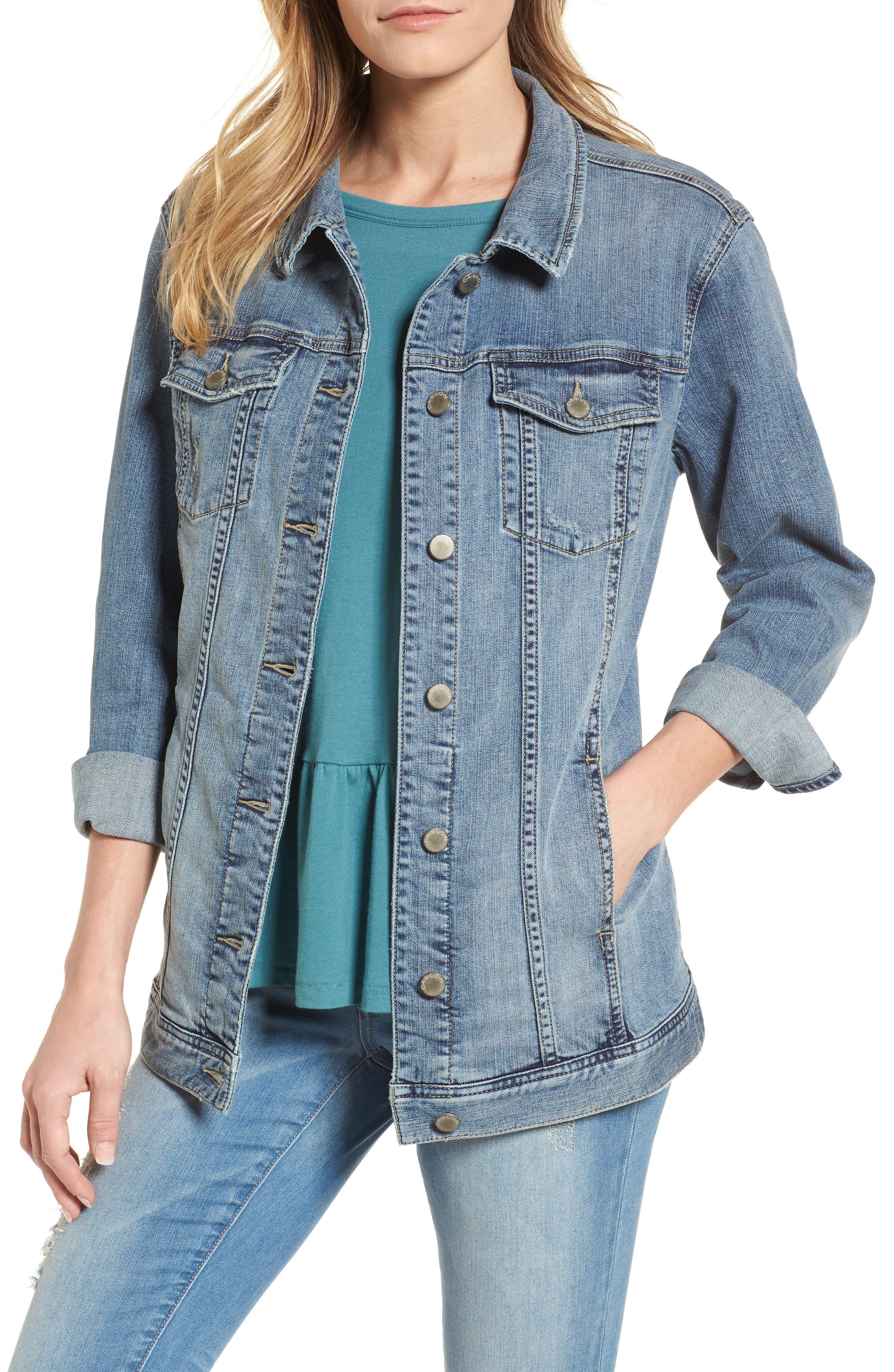 Alternate Image 1 Selected - Caslon® Relaxed Fit Denim Jacket (Regular & Petite)