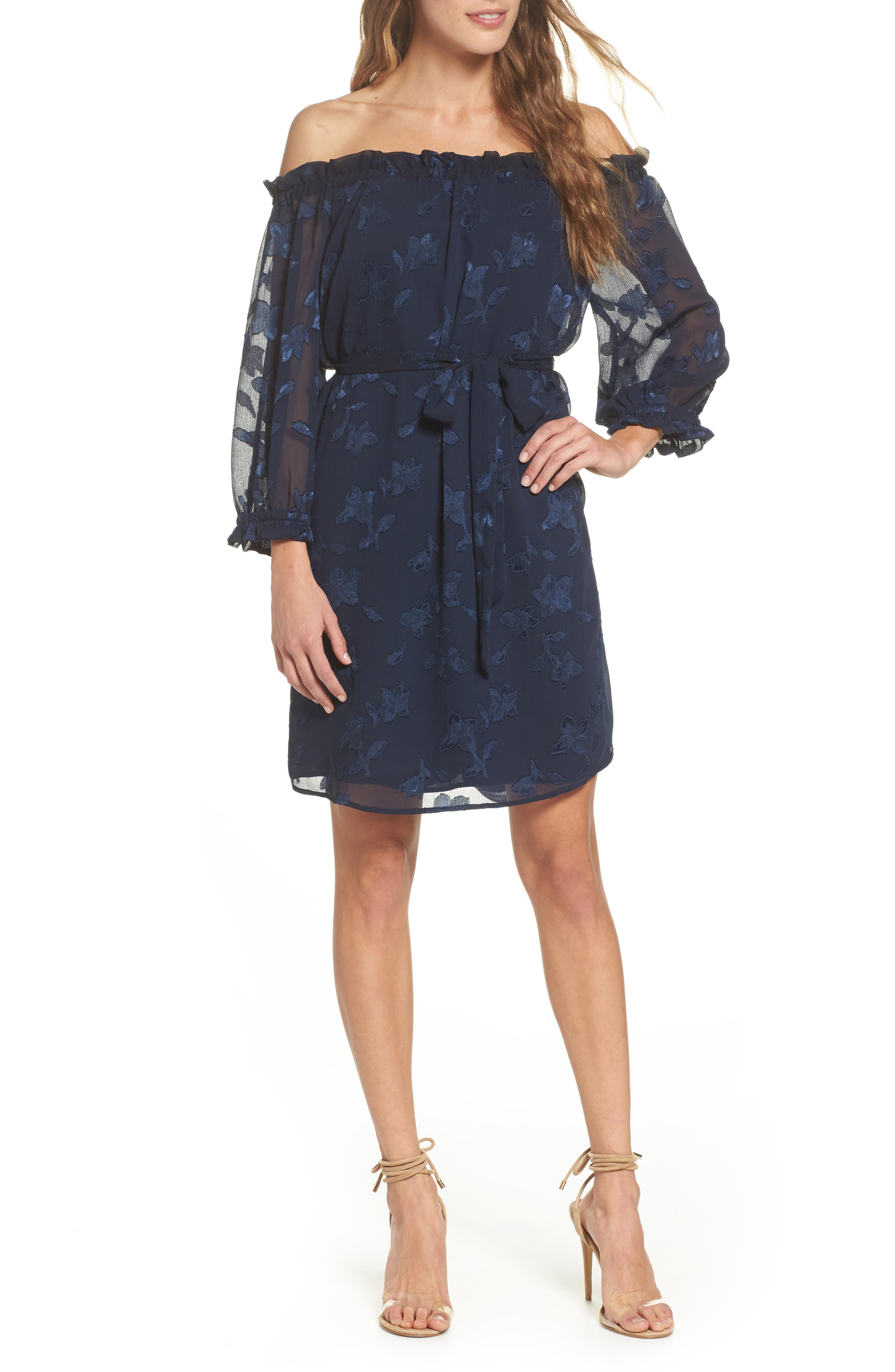 Off the Shoulder Lace Dress,                         Main,                         color, Navy