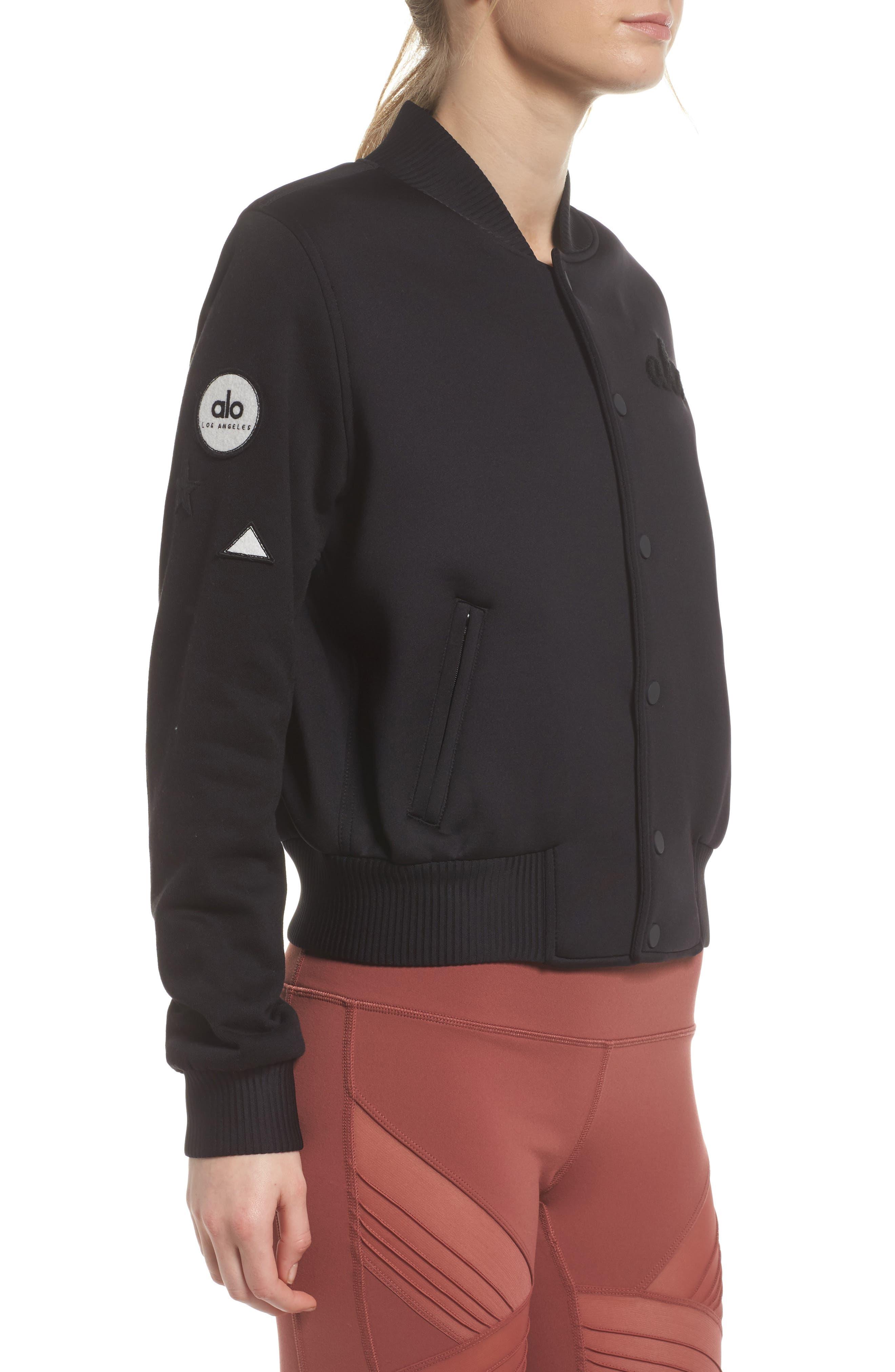 League Varsity Jacket,                             Alternate thumbnail 3, color,                             Black/ Alo Patches