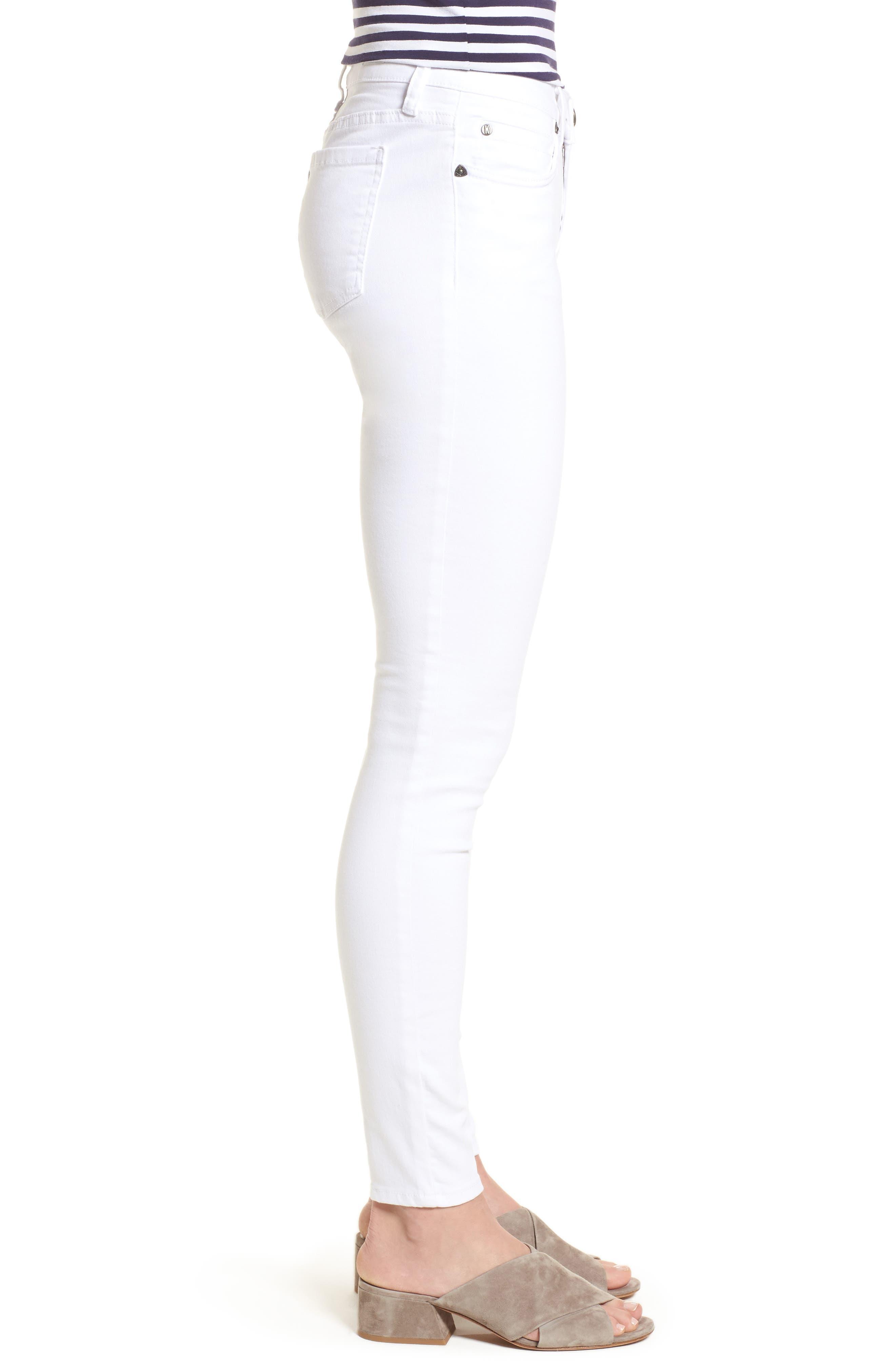 Mia Skinny Jeans,                             Alternate thumbnail 3, color,                             Optic White