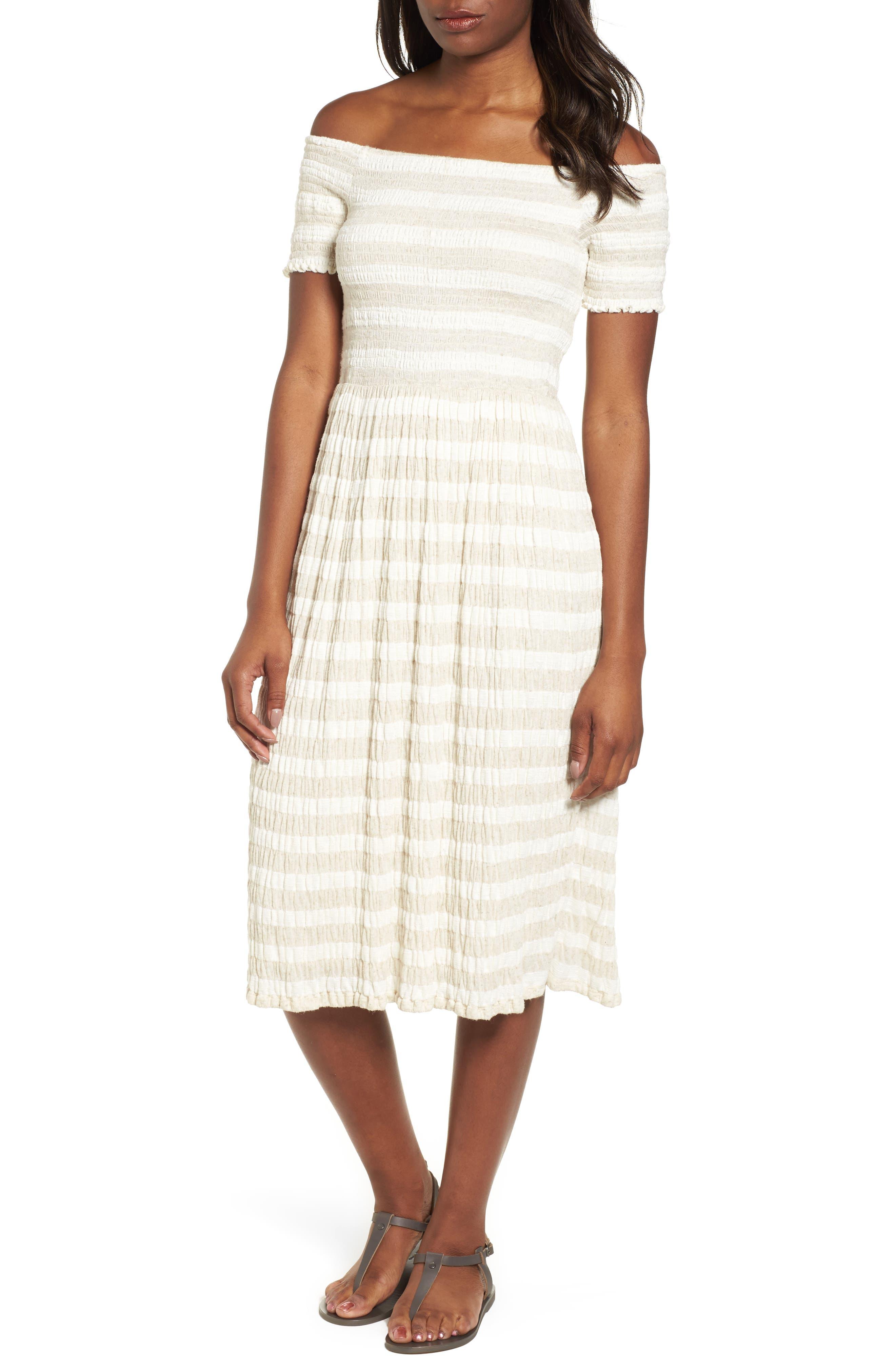 Stripe Smocked Midi Dress,                             Main thumbnail 1, color,                             Natural Multi