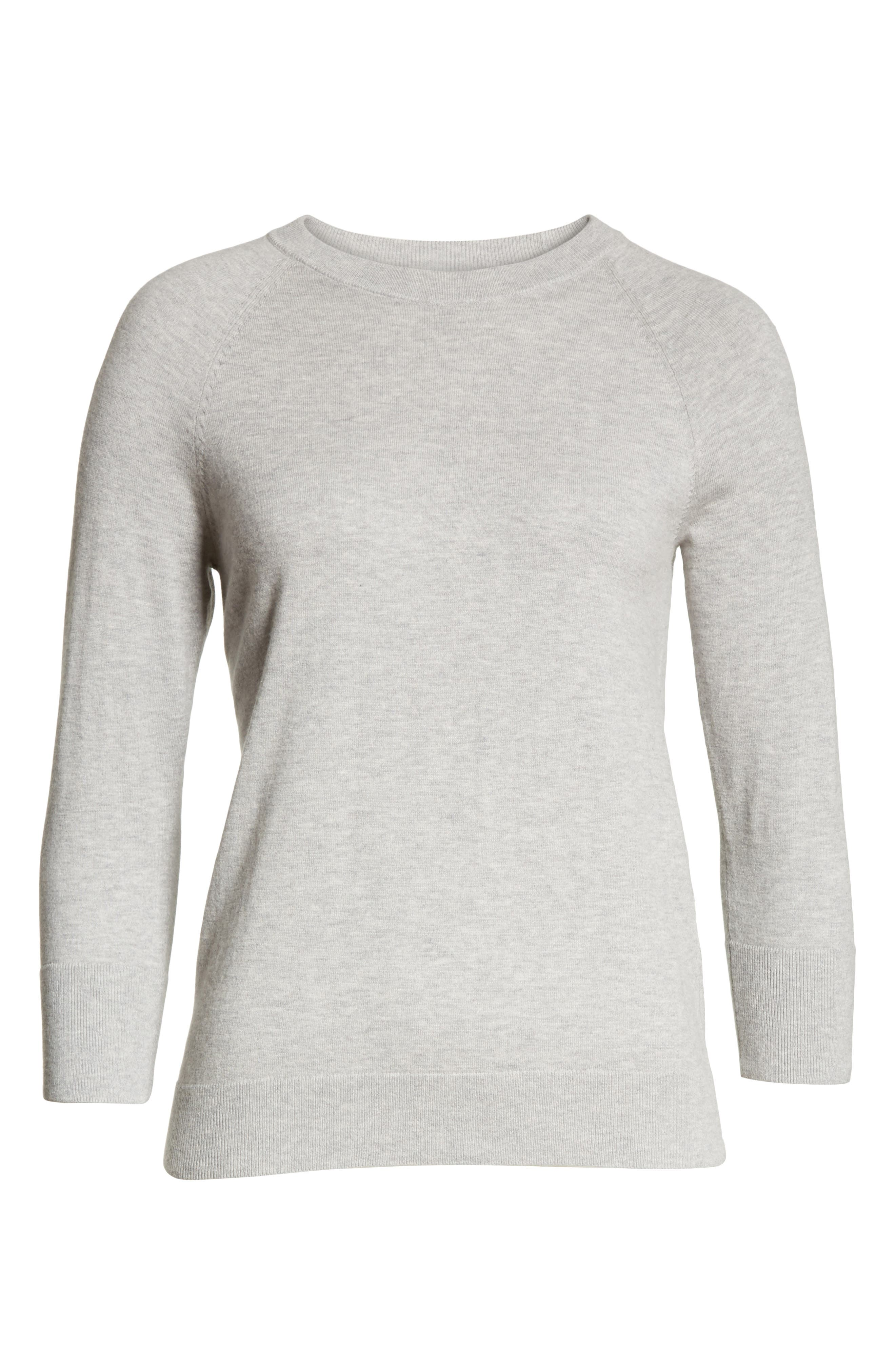 Cotton & Cashmere Sweater,                             Alternate thumbnail 6, color,                             Light Heather Grey
