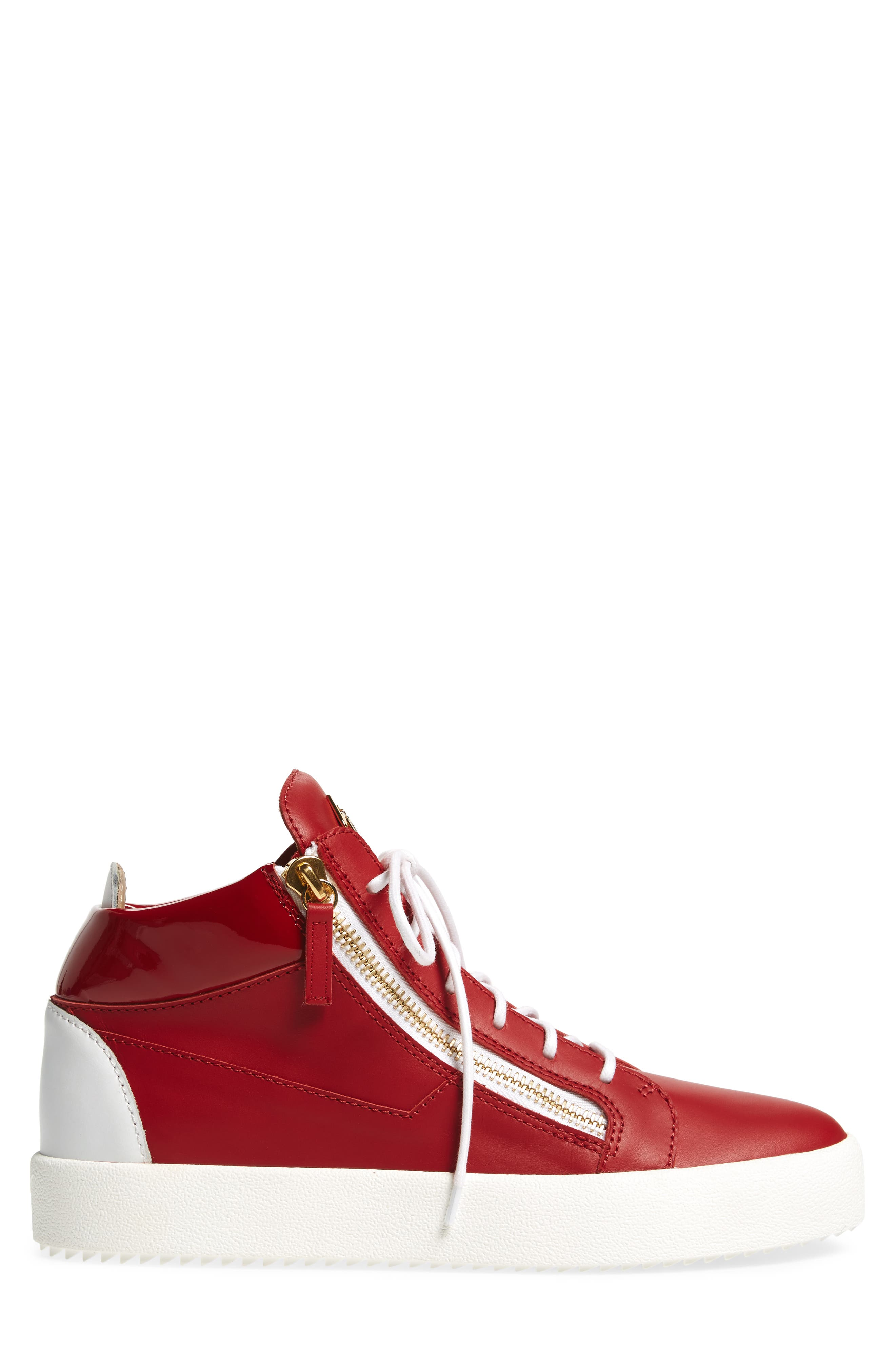Double Zipper Mid Top Sneaker,                             Alternate thumbnail 3, color,                             Red W/ White Leather
