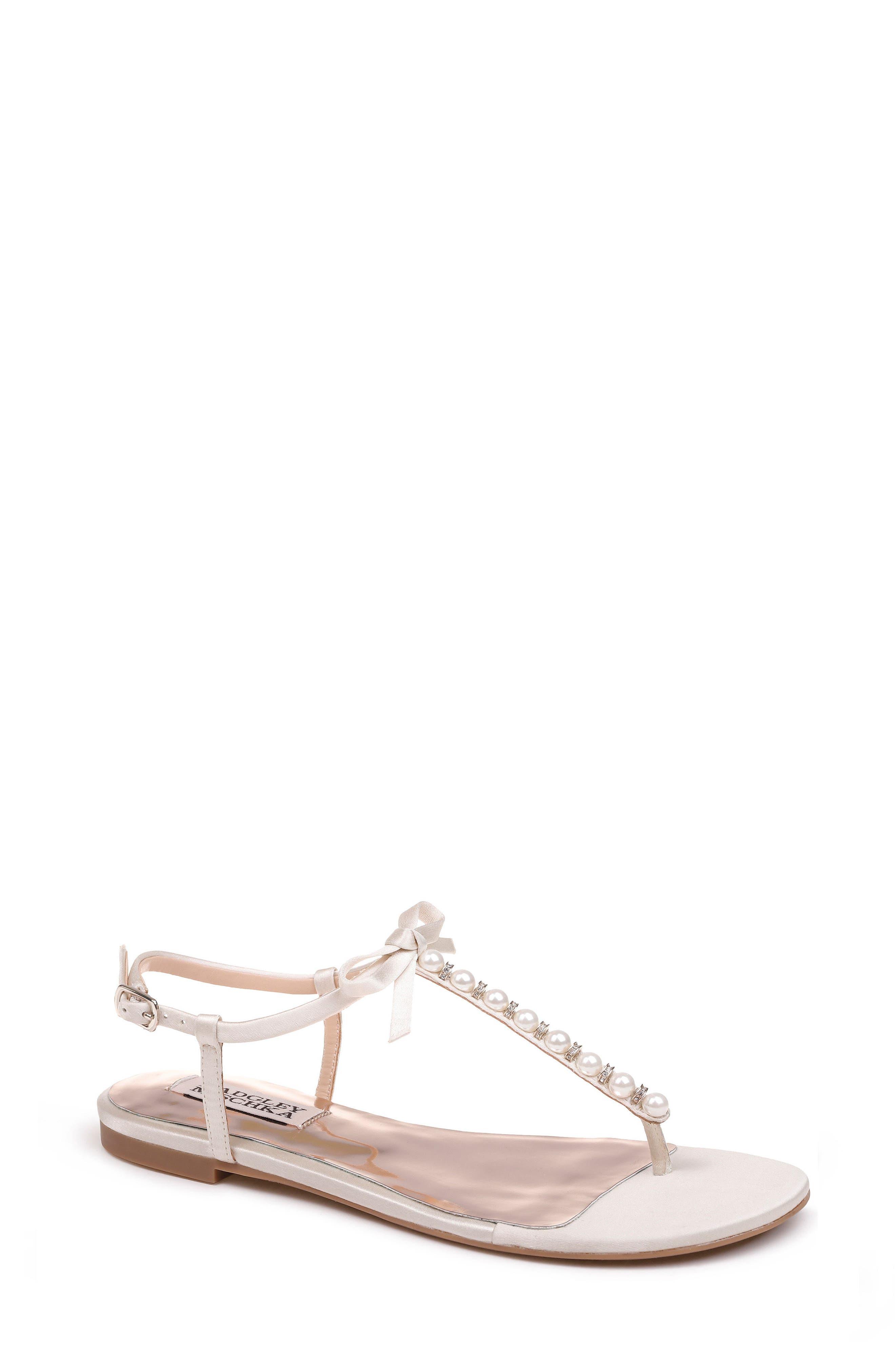 Honey Embellished Sandal,                         Main,                         color, Ivory Satin