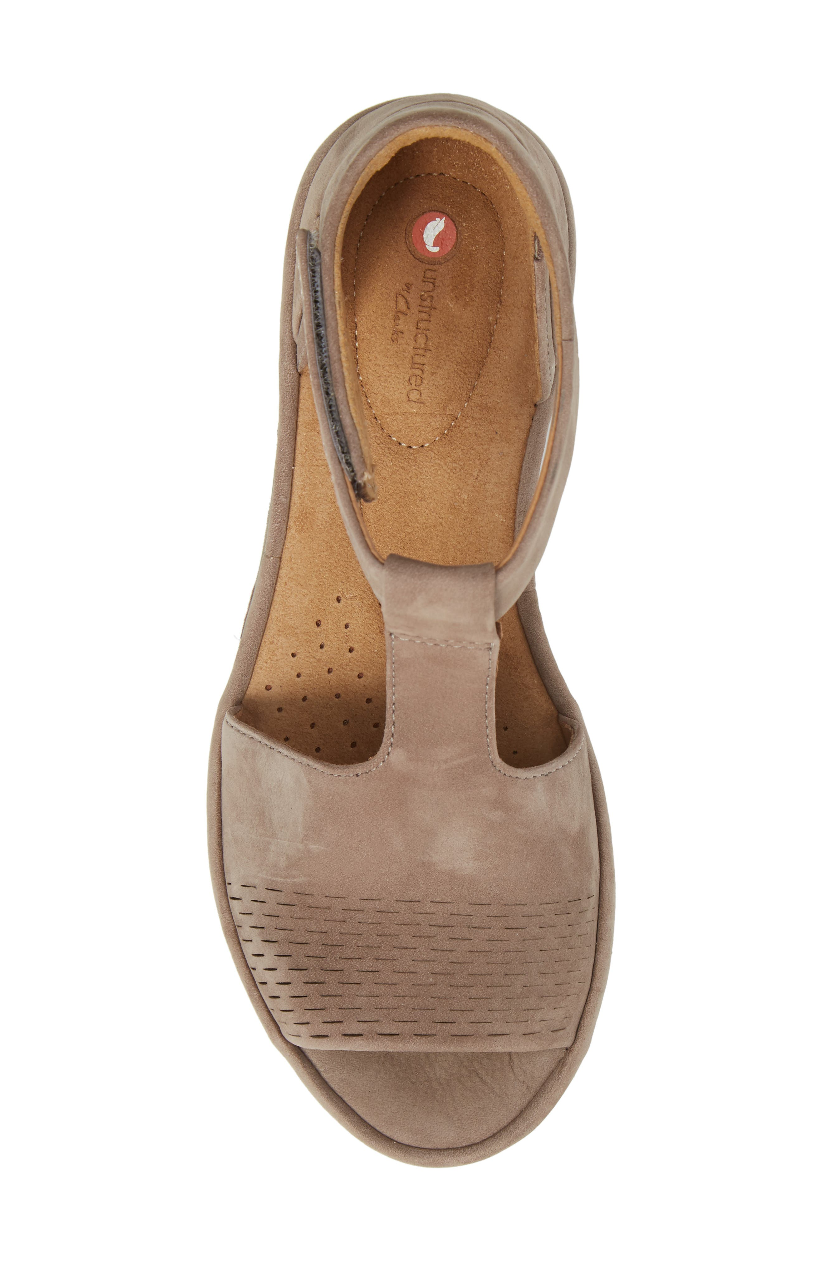 Wynnmere Avah T-Strap Wedge Sandal,                             Alternate thumbnail 5, color,                             Warm Grey Nubuck