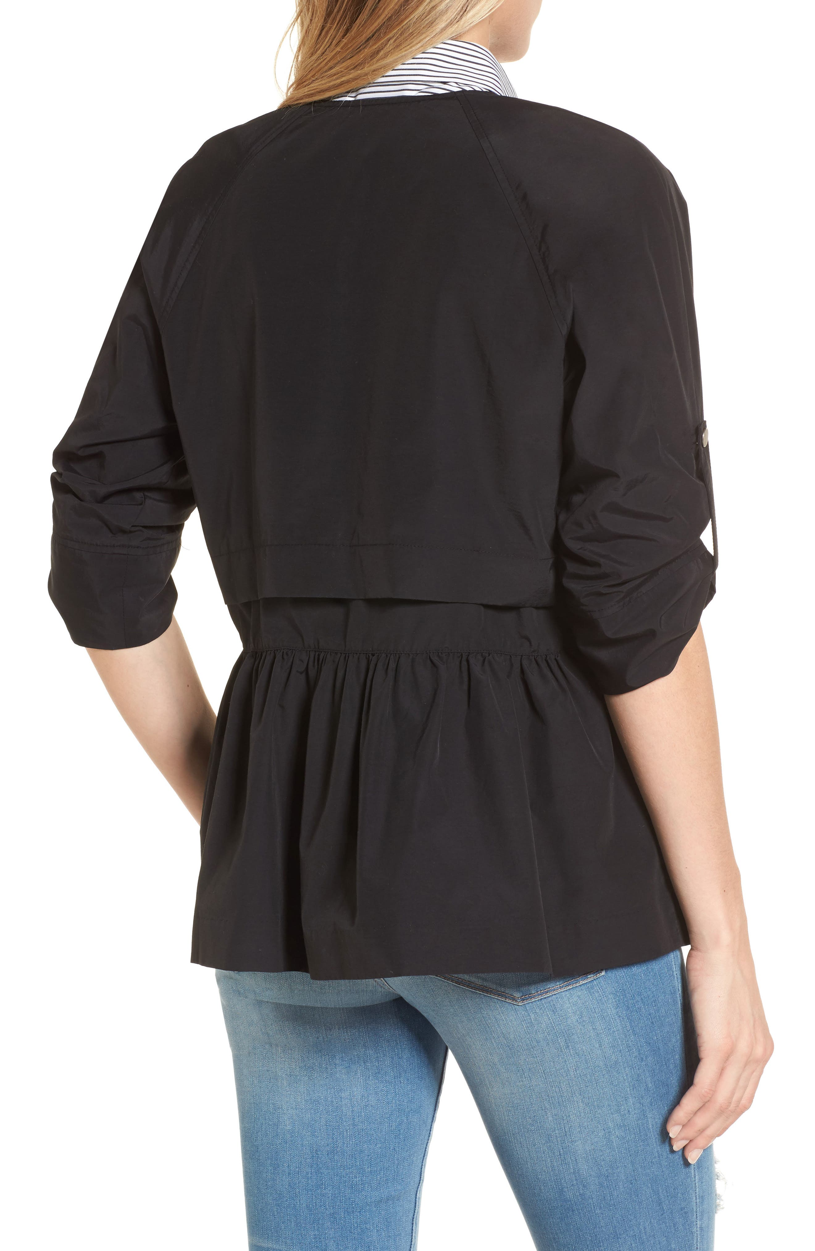 Peplum Cotton Blend Utility Jacket,                             Alternate thumbnail 2, color,                             Black