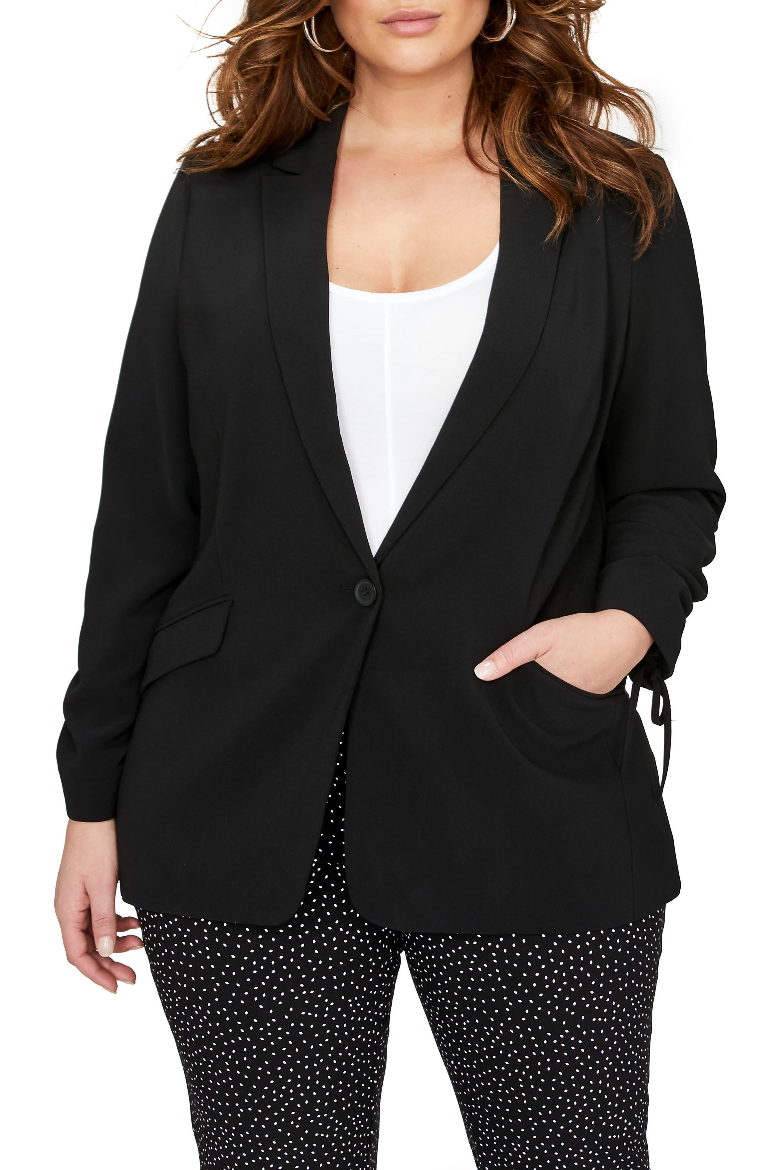MICHEL STUDIO One-Button Jacket (Plus Size)