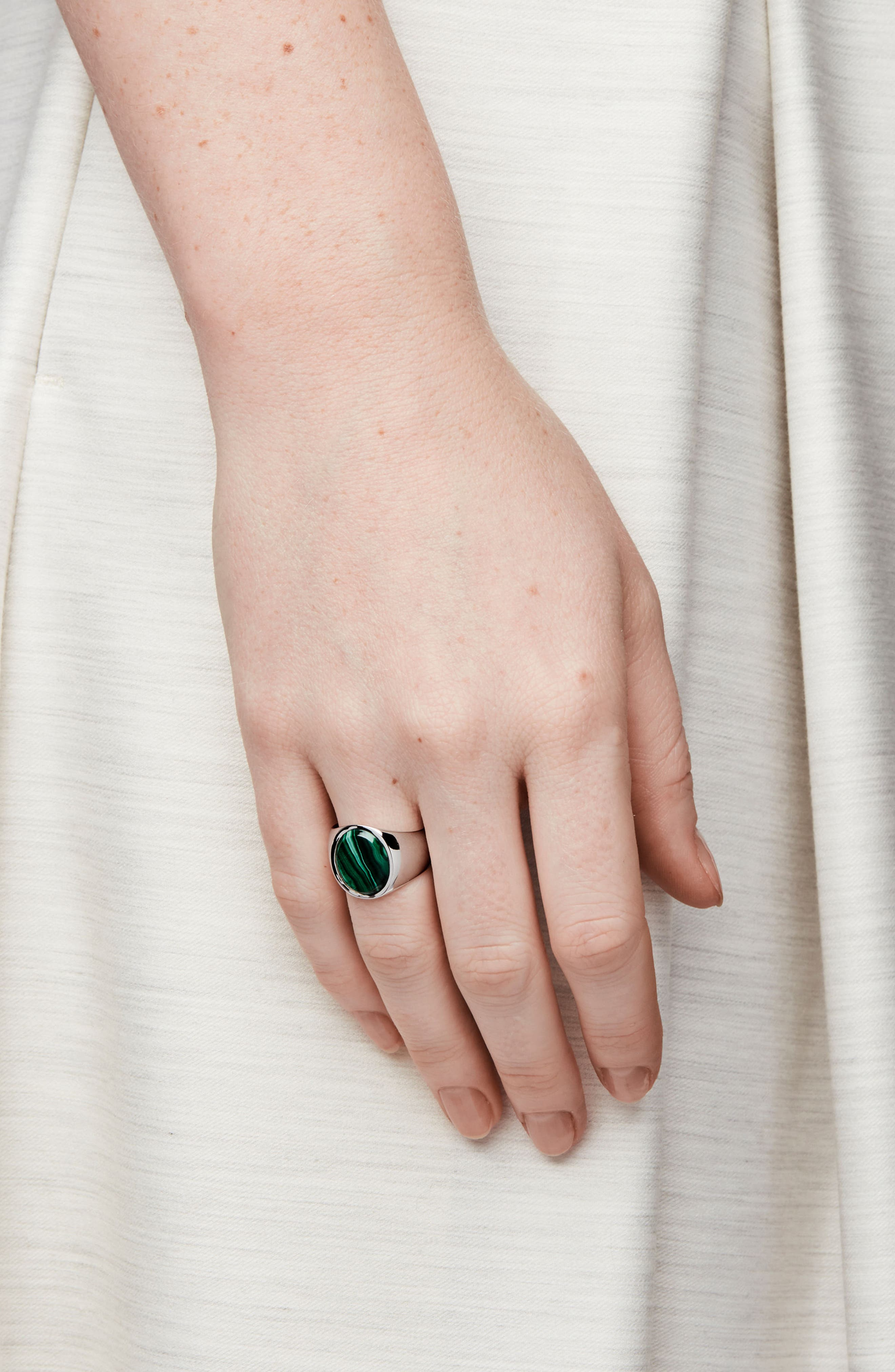 'Patriot Collection' Oval Malachite Signet Ring,                             Alternate thumbnail 2, color,                             Silver