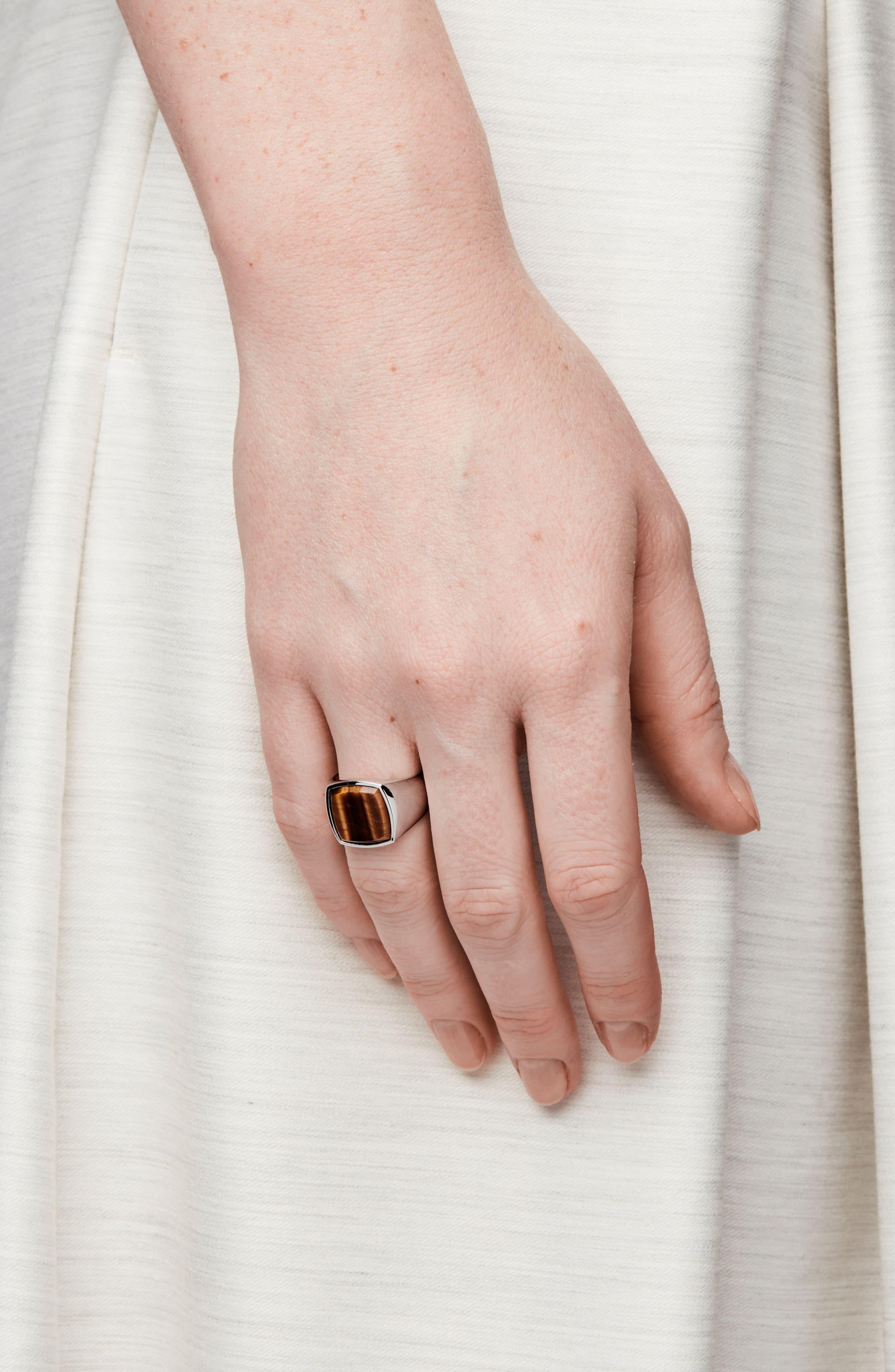 Cushion Tiger's Eye Signet Ring,                             Alternate thumbnail 2, color,                             Silver