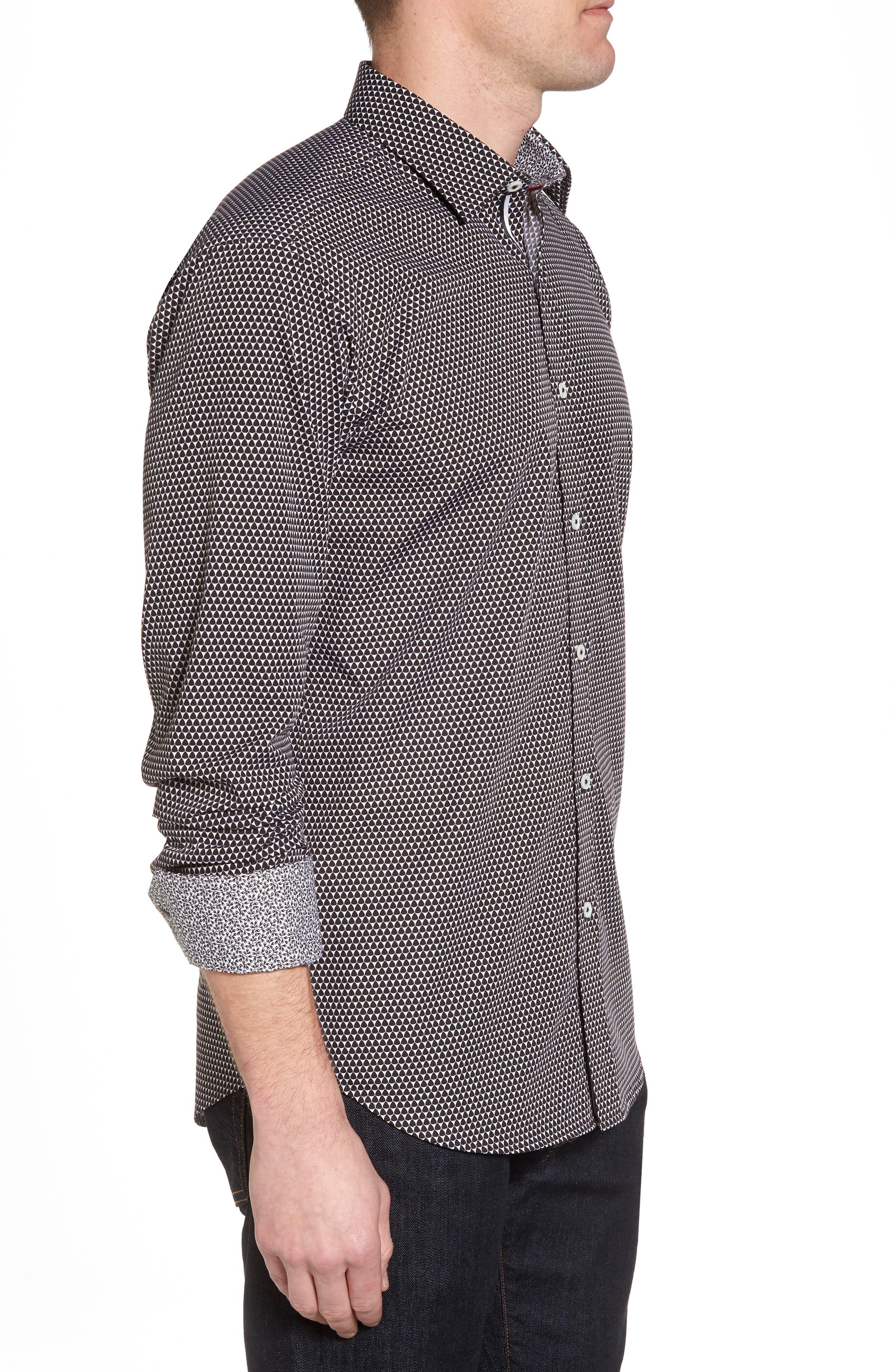 Slim Fit Geo Print Sport Shirt,                             Alternate thumbnail 3, color,                             Black