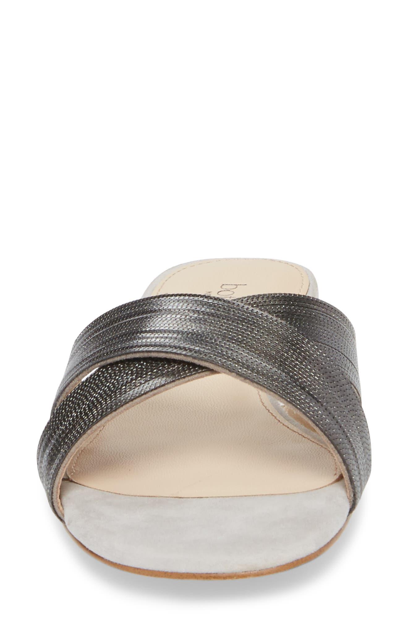 Millie Cross Strap Slide Sandal,                             Alternate thumbnail 4, color,                             Clay/ Gunmetal Suede