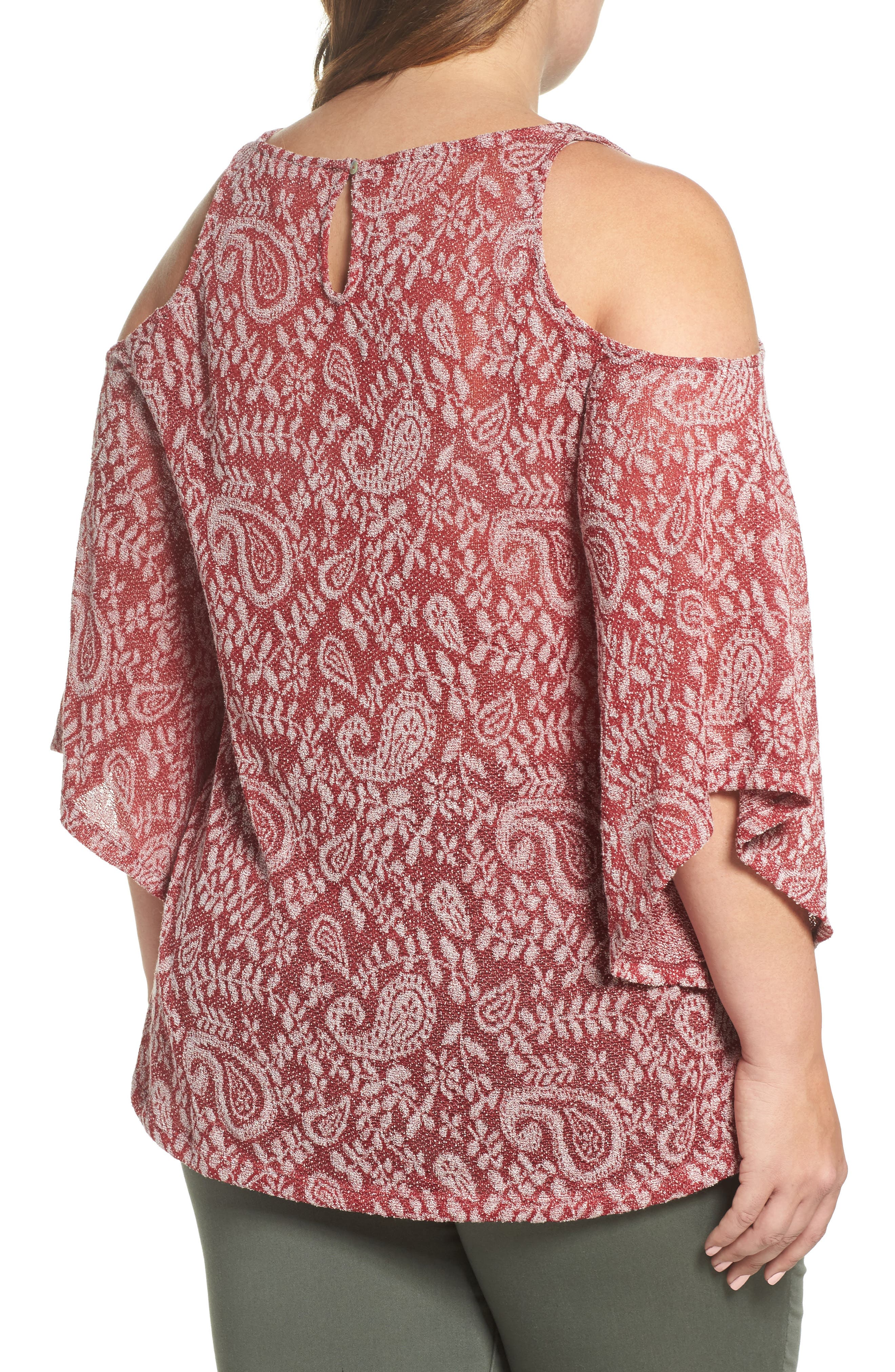 Alternate Image 2  - Lucky Brand Cold Shoulder Paisley Top (Plus Size)