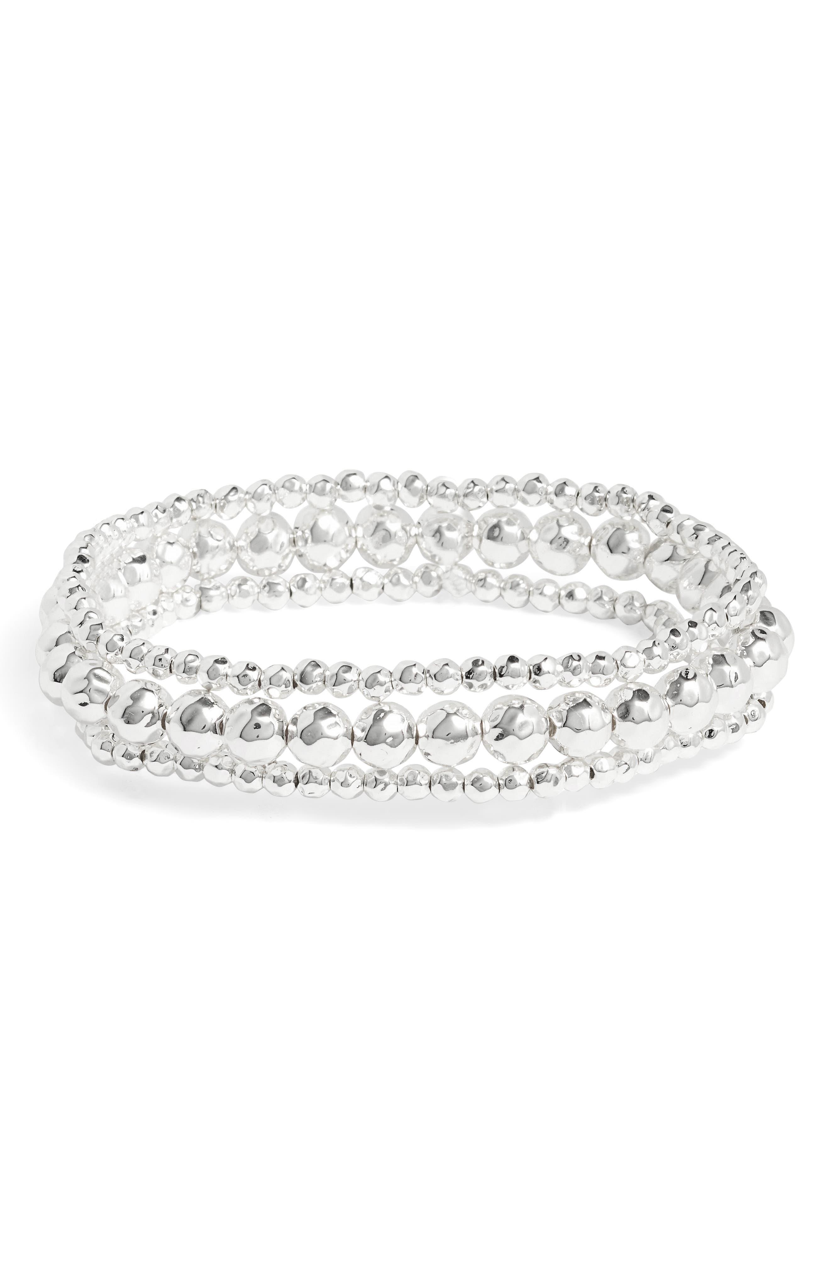Taner Beaded Bracelet,                             Main thumbnail 1, color,                             Silver