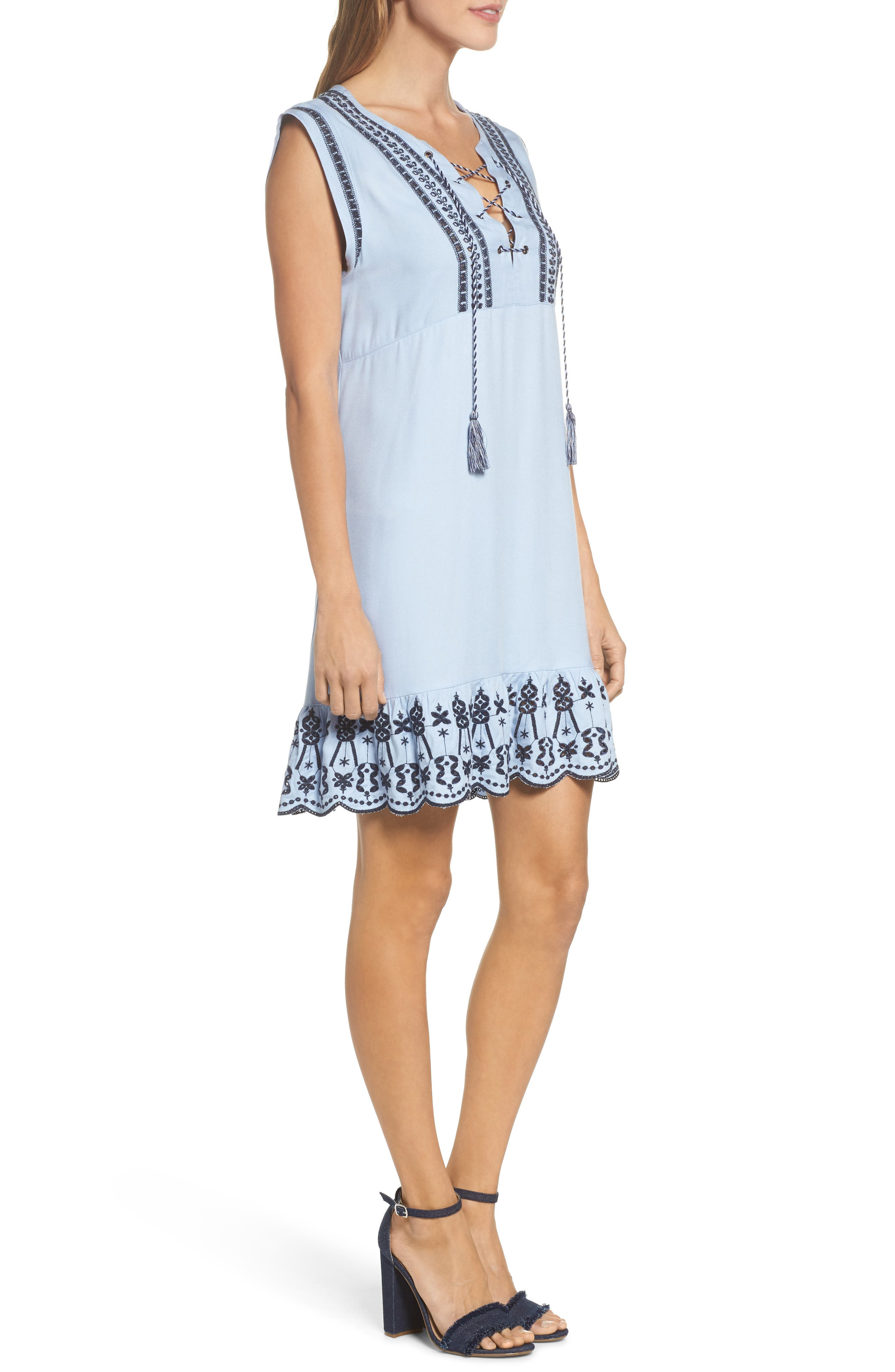 Embroidered Lace-Up Dress,                             Alternate thumbnail 3, color,                             Cyanide