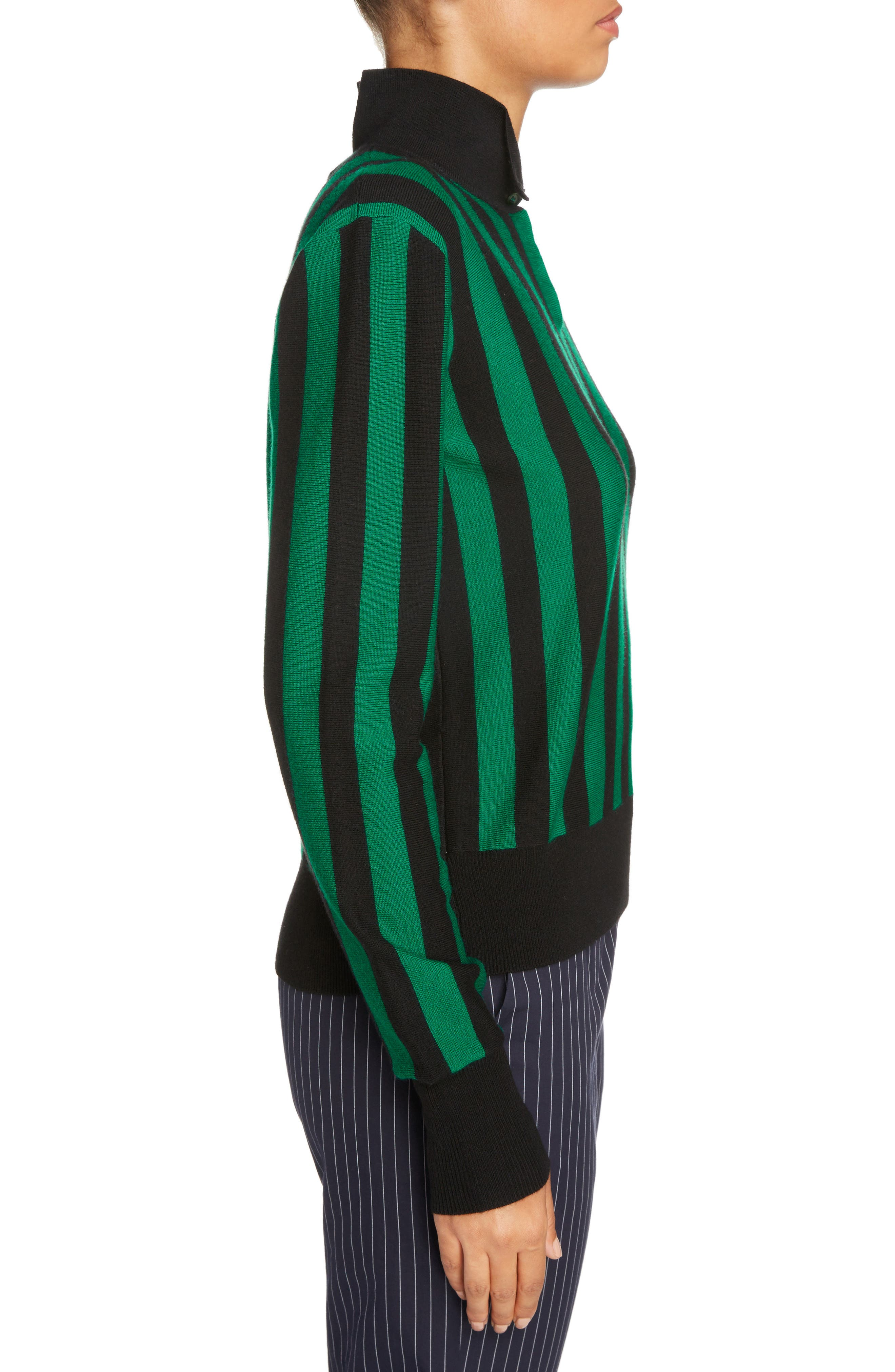 Stripe High Neck Sweater,                             Alternate thumbnail 3, color,                             Emerald