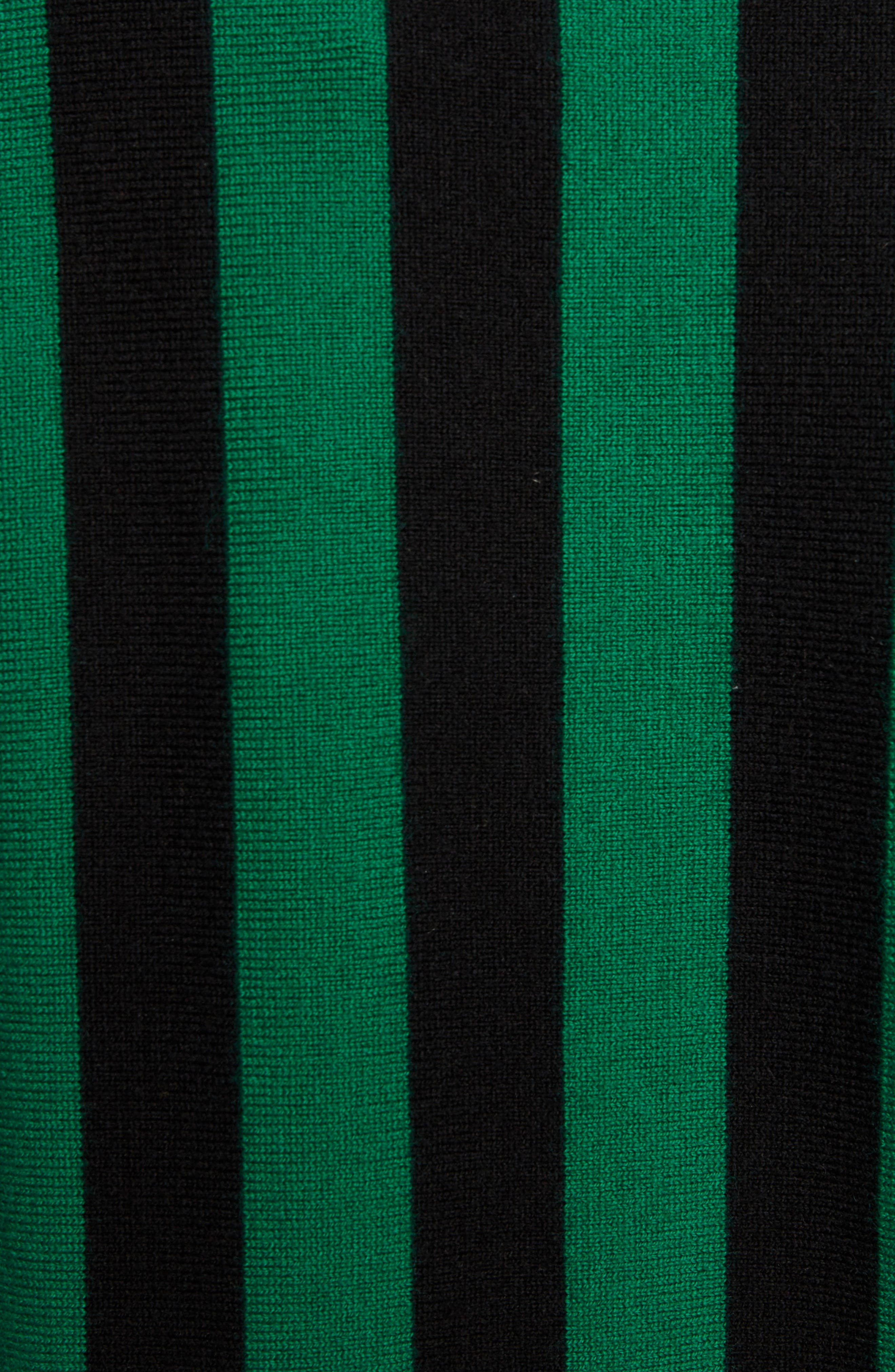 Stripe High Neck Sweater,                             Alternate thumbnail 5, color,                             Emerald