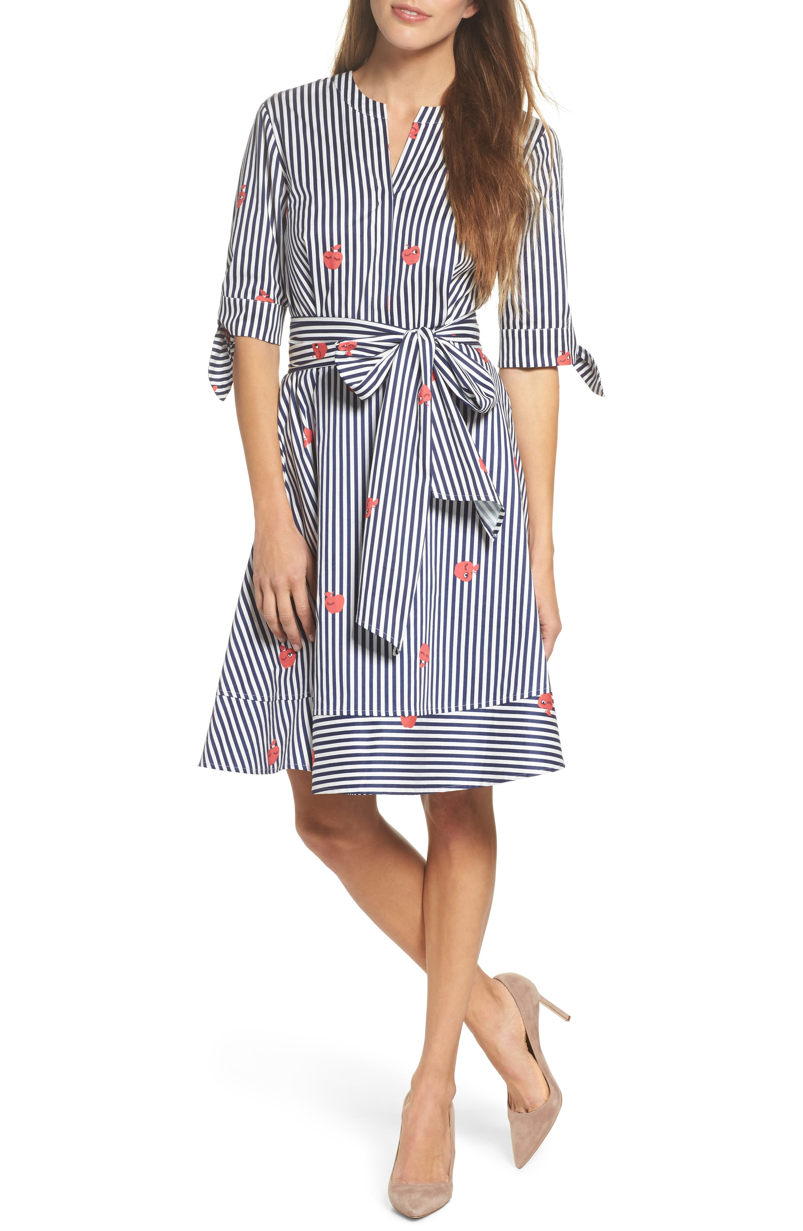 Bella Tie Front Fit & Flare Shirtdress,                             Main thumbnail 1, color,                             Navy/ White Stripe