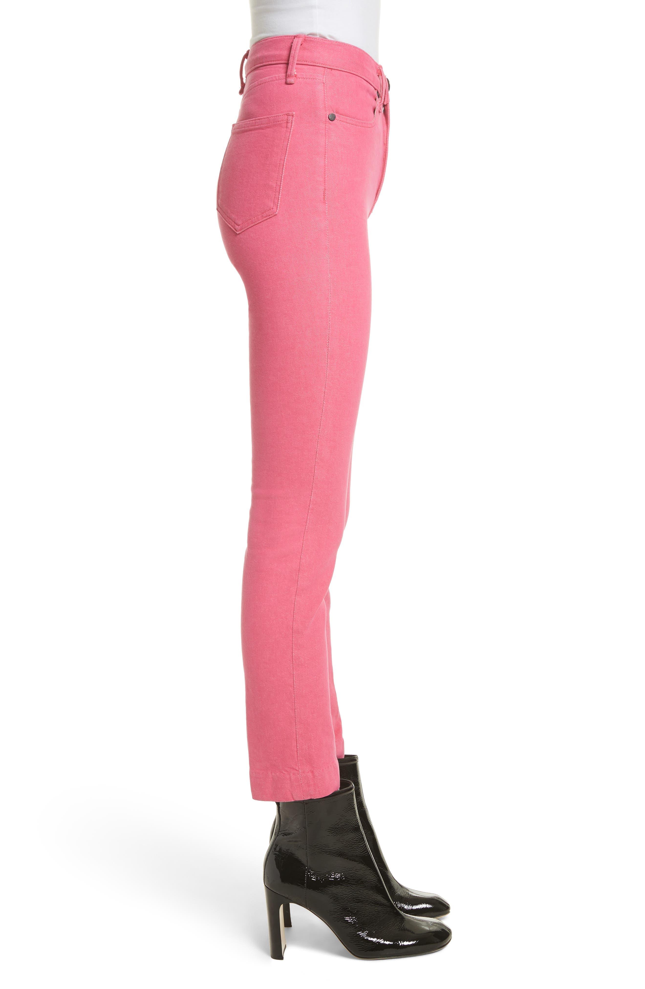 High Waist Ankle Cigarette Leg Jeans,                             Alternate thumbnail 3, color,                             Bull Pink