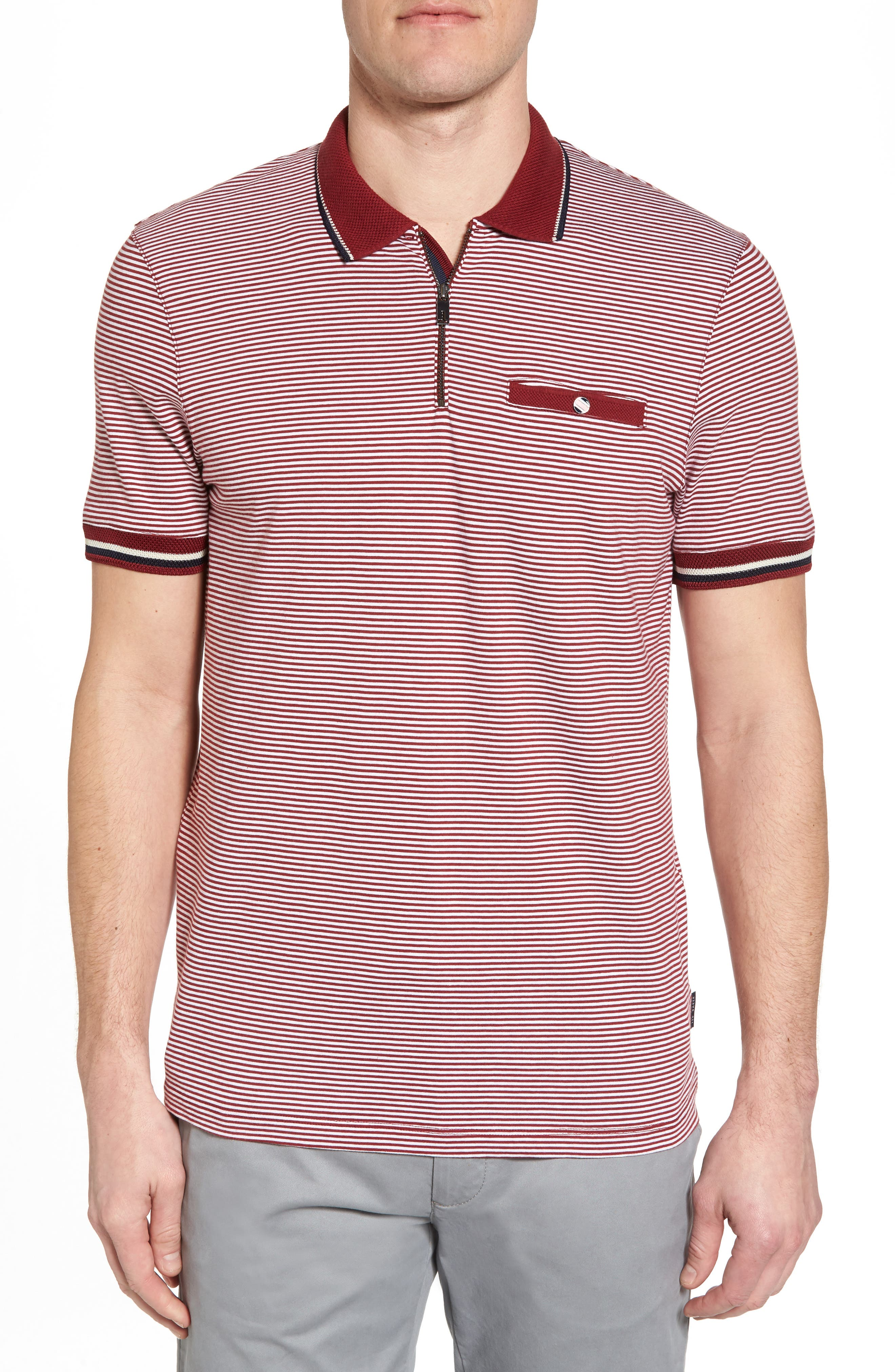 Whiptt Trim Fit Zip Polo,                             Main thumbnail 1, color,                             Dark Red