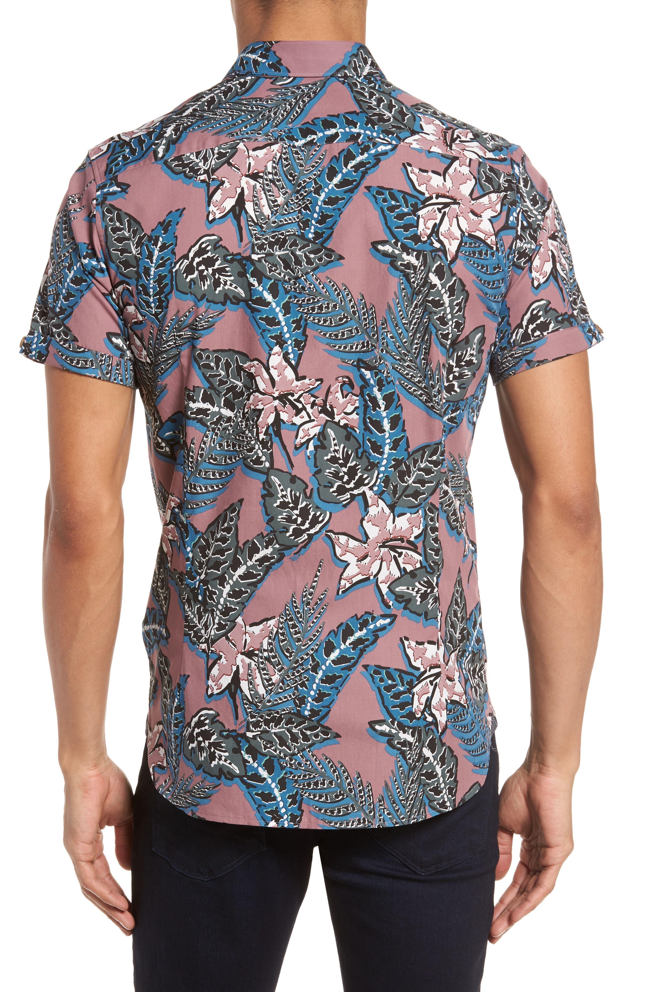 Clbtrop Trim Fit Tropical Woven Shirt,                             Alternate thumbnail 3, color,                             Pink