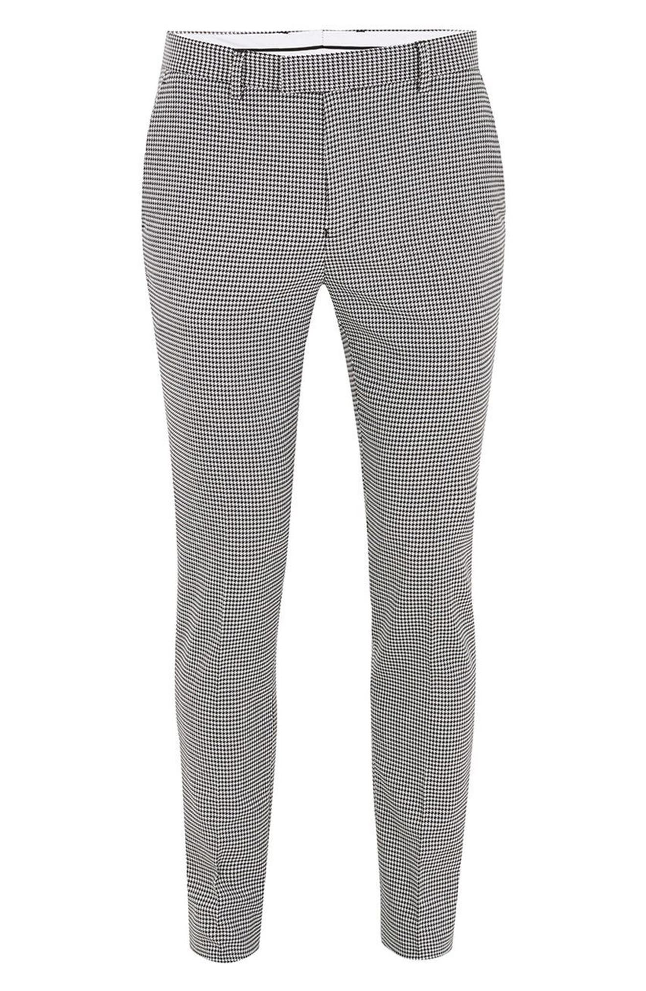 Ultra Skinny Fit Houndstooth Suit Trousers,                             Alternate thumbnail 5, color,                             Black Multi