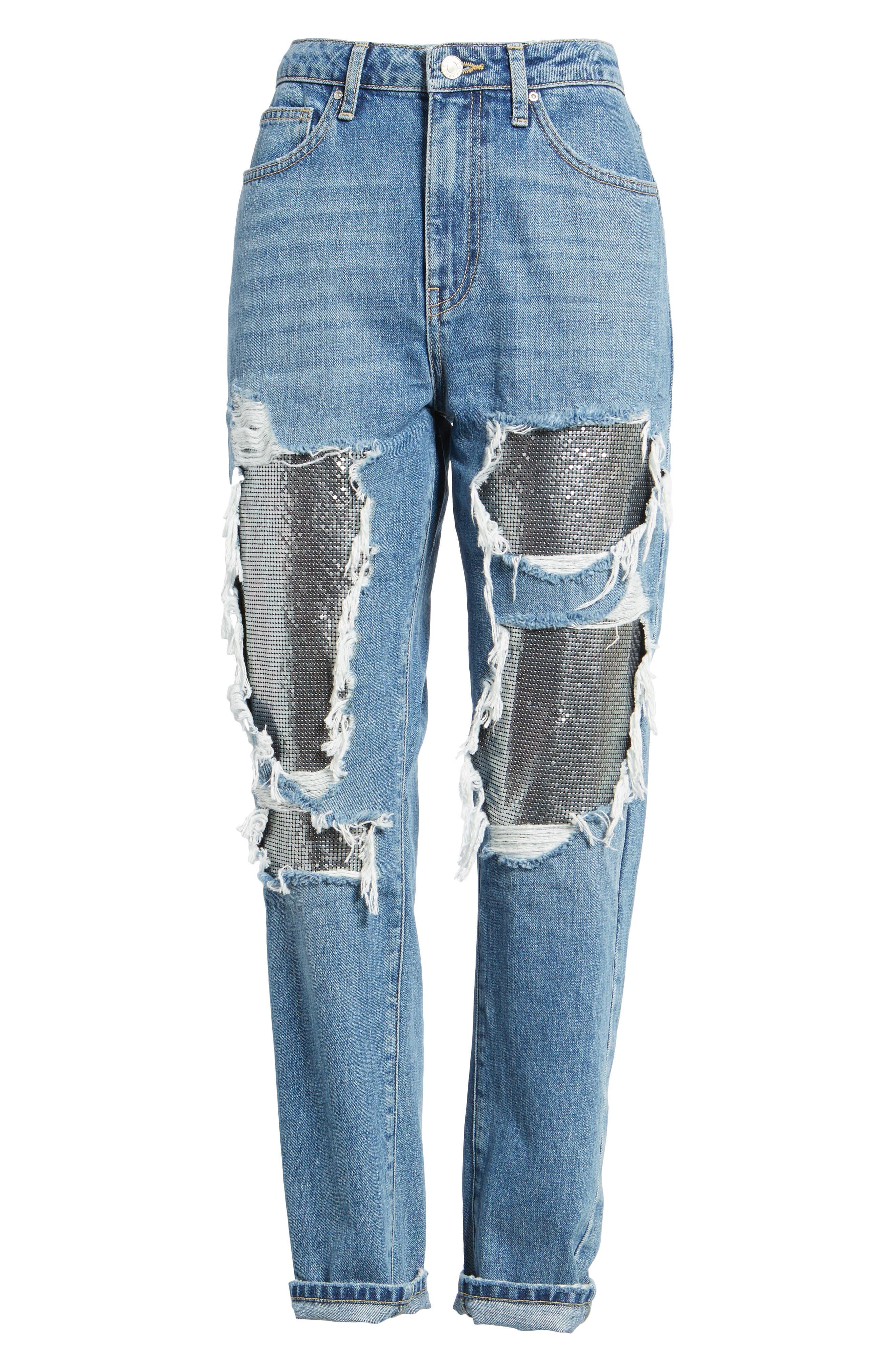 Chain Mail Boyfriend Jeans,                             Alternate thumbnail 8, color,                             Light Denim Multi