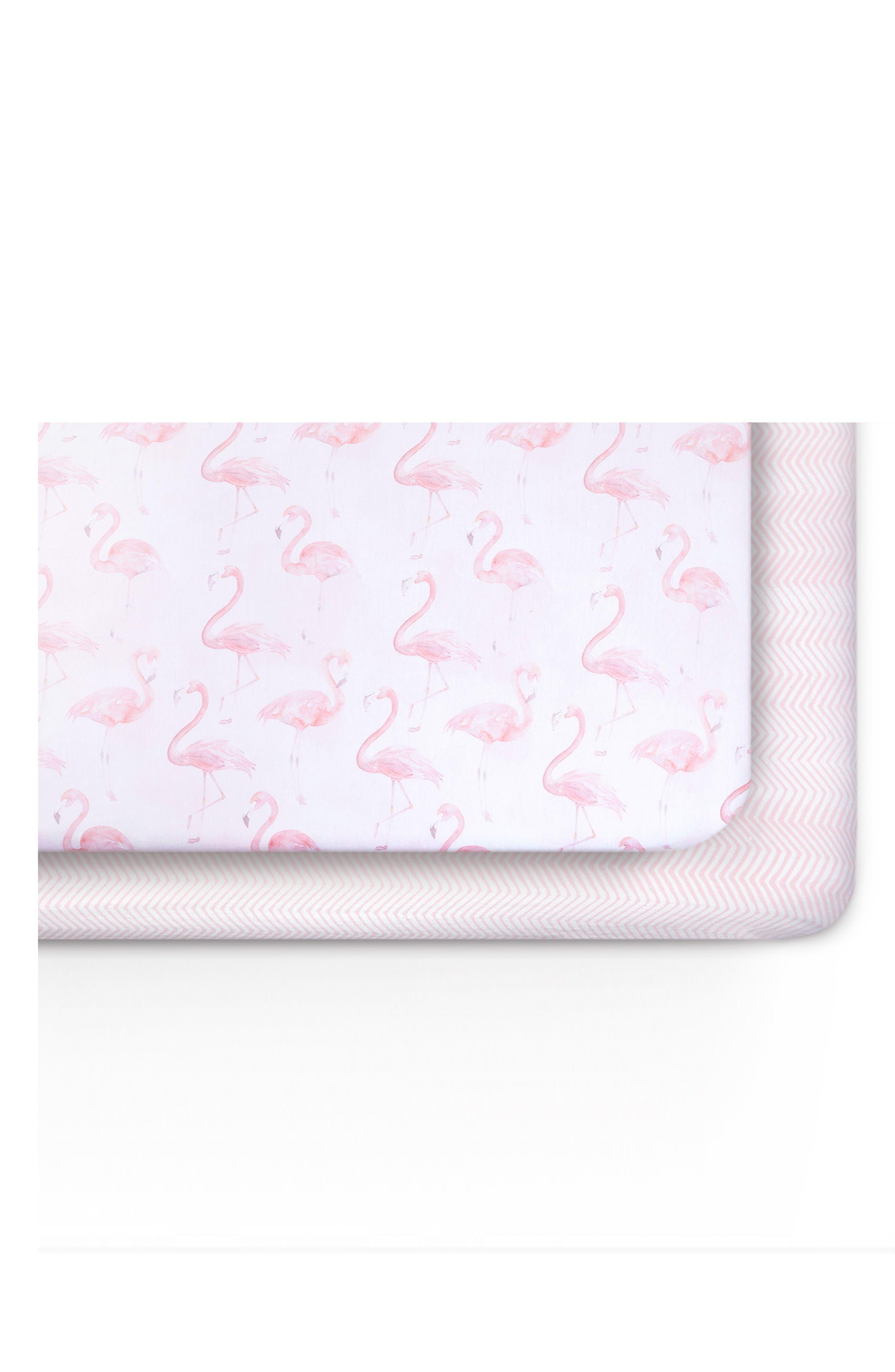 Flamingo & Zig-Zag 2-Pack Jersey Crib Sheets,                             Main thumbnail 1, color,                             Flamingo