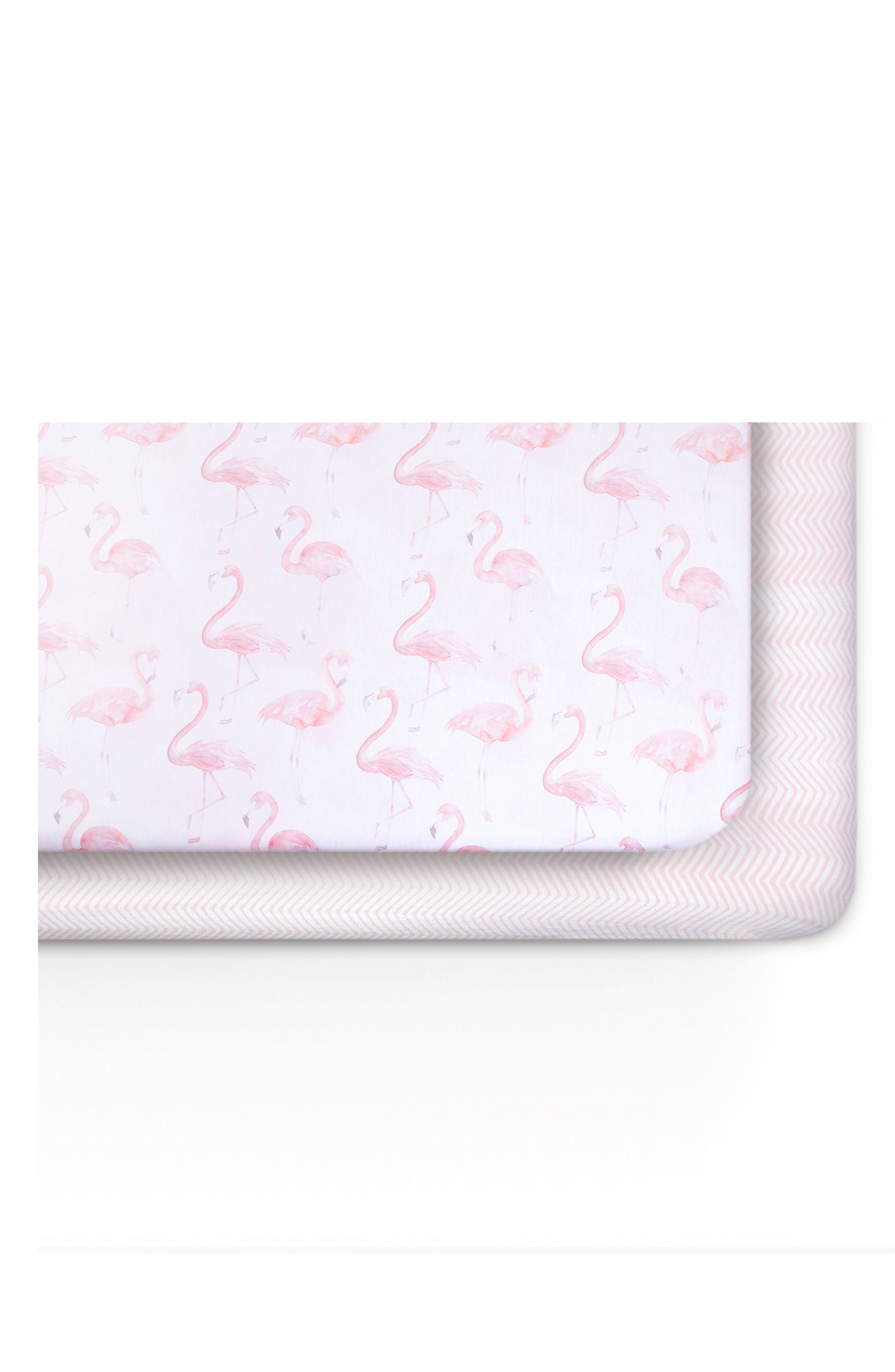 Flamingo & Zig-Zag 2-Pack Jersey Crib Sheets,                         Main,                         color, Flamingo