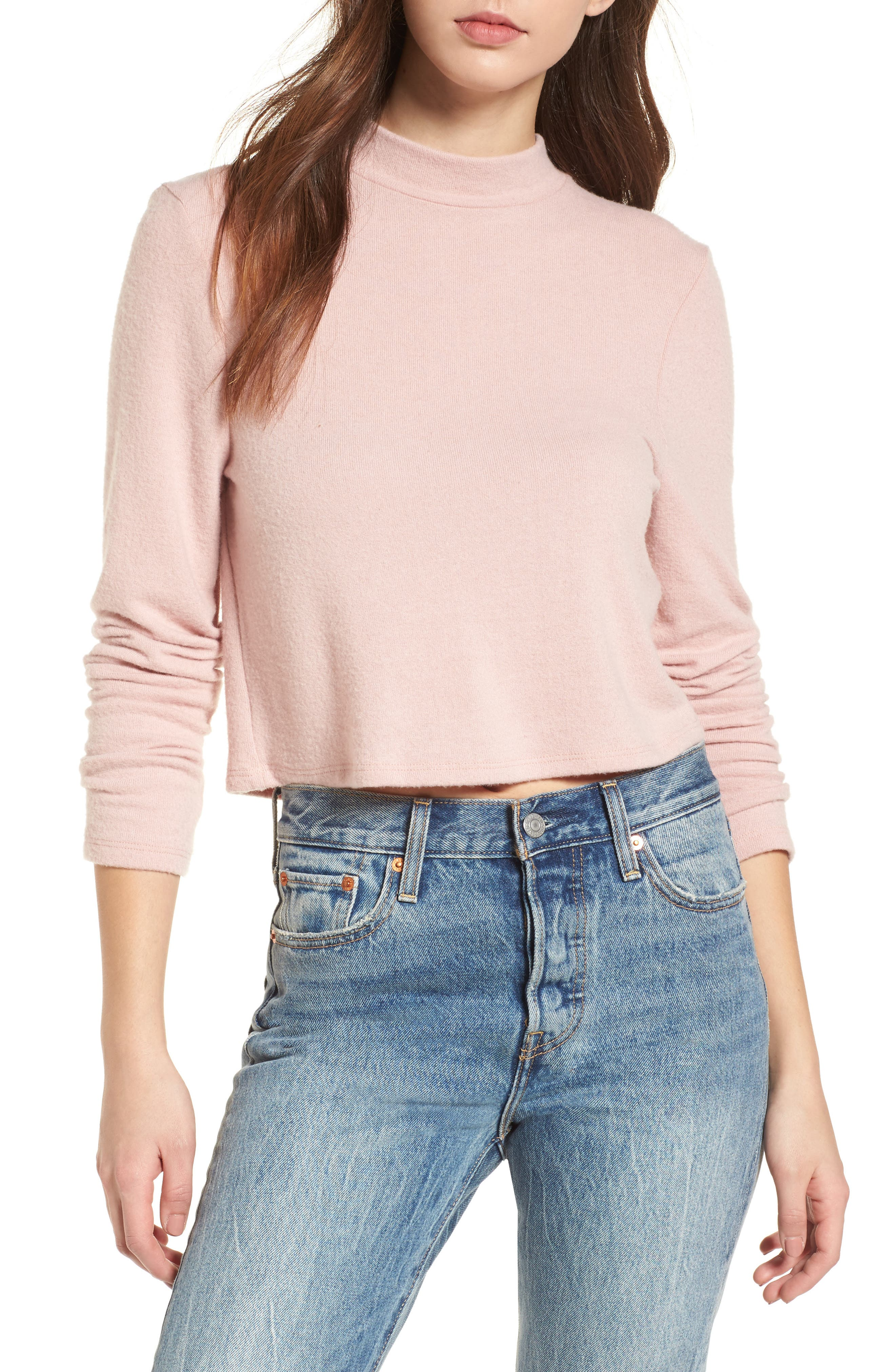 Mock Neck Pullover,                         Main,                         color, Pink Smoke