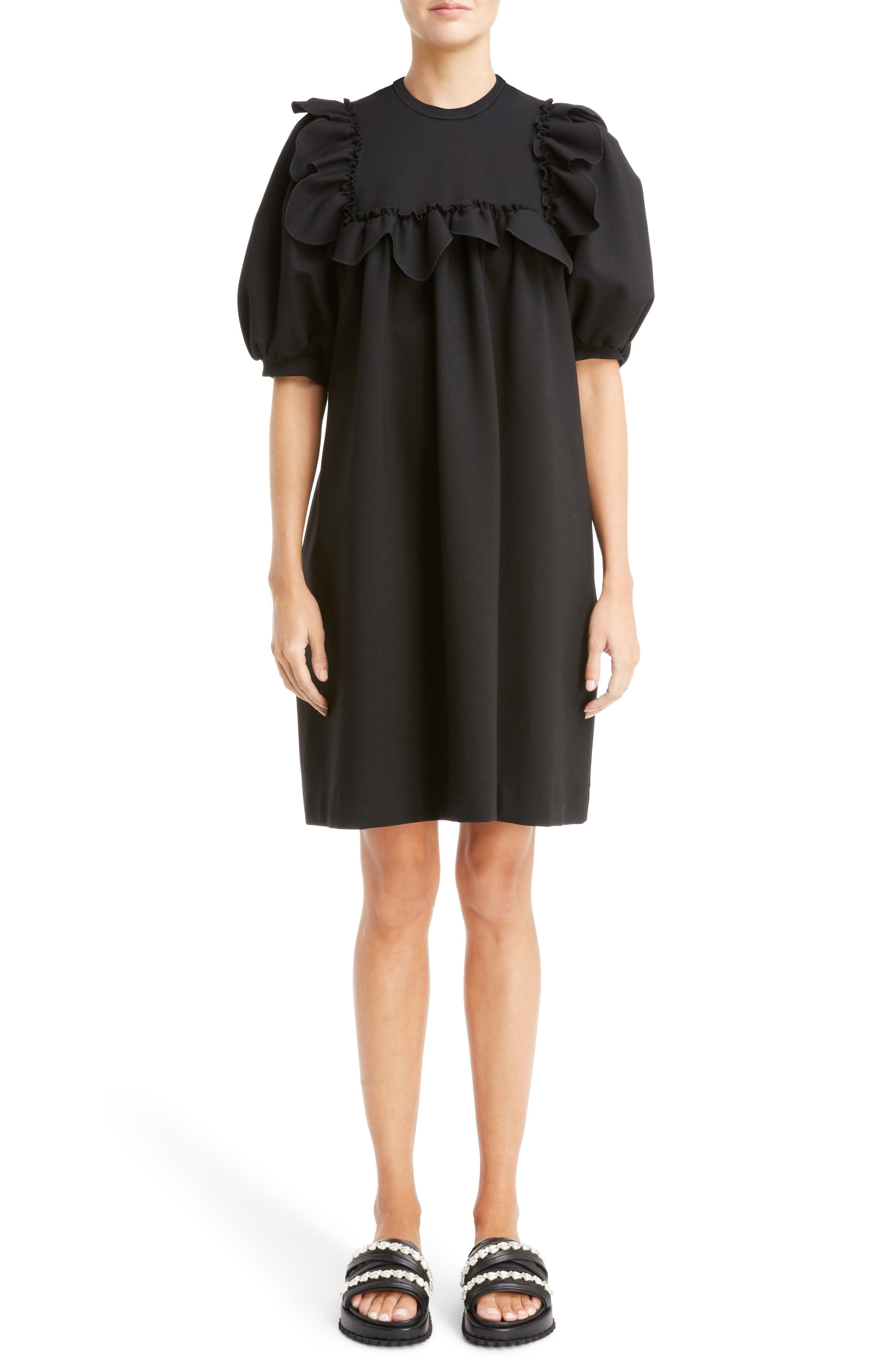 Ruffle Bib Dress,                             Main thumbnail 1, color,                             Black