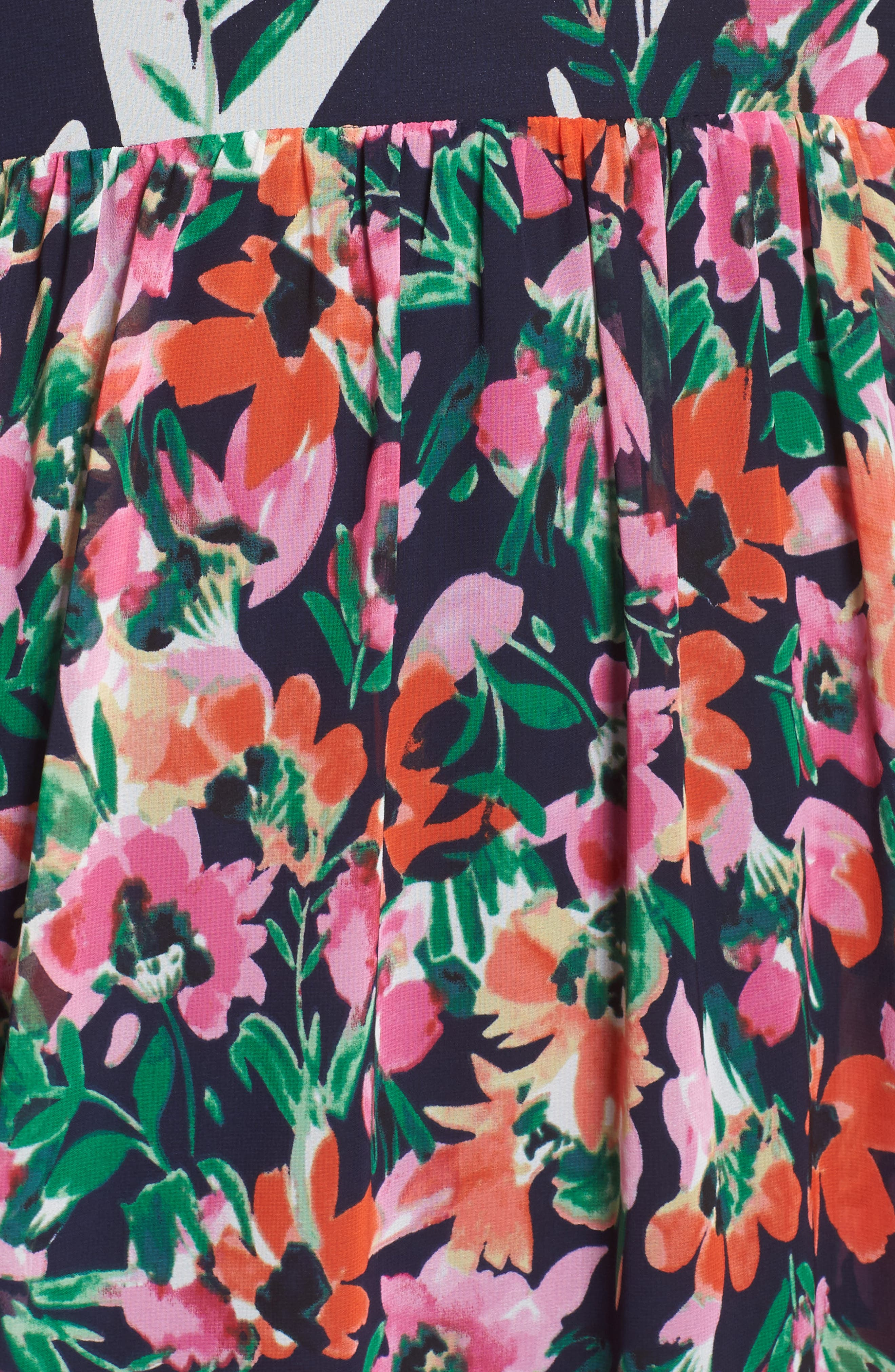 Floral Halter Chiffon Maxi Dress,                             Alternate thumbnail 5, color,                             Navy/ Pink