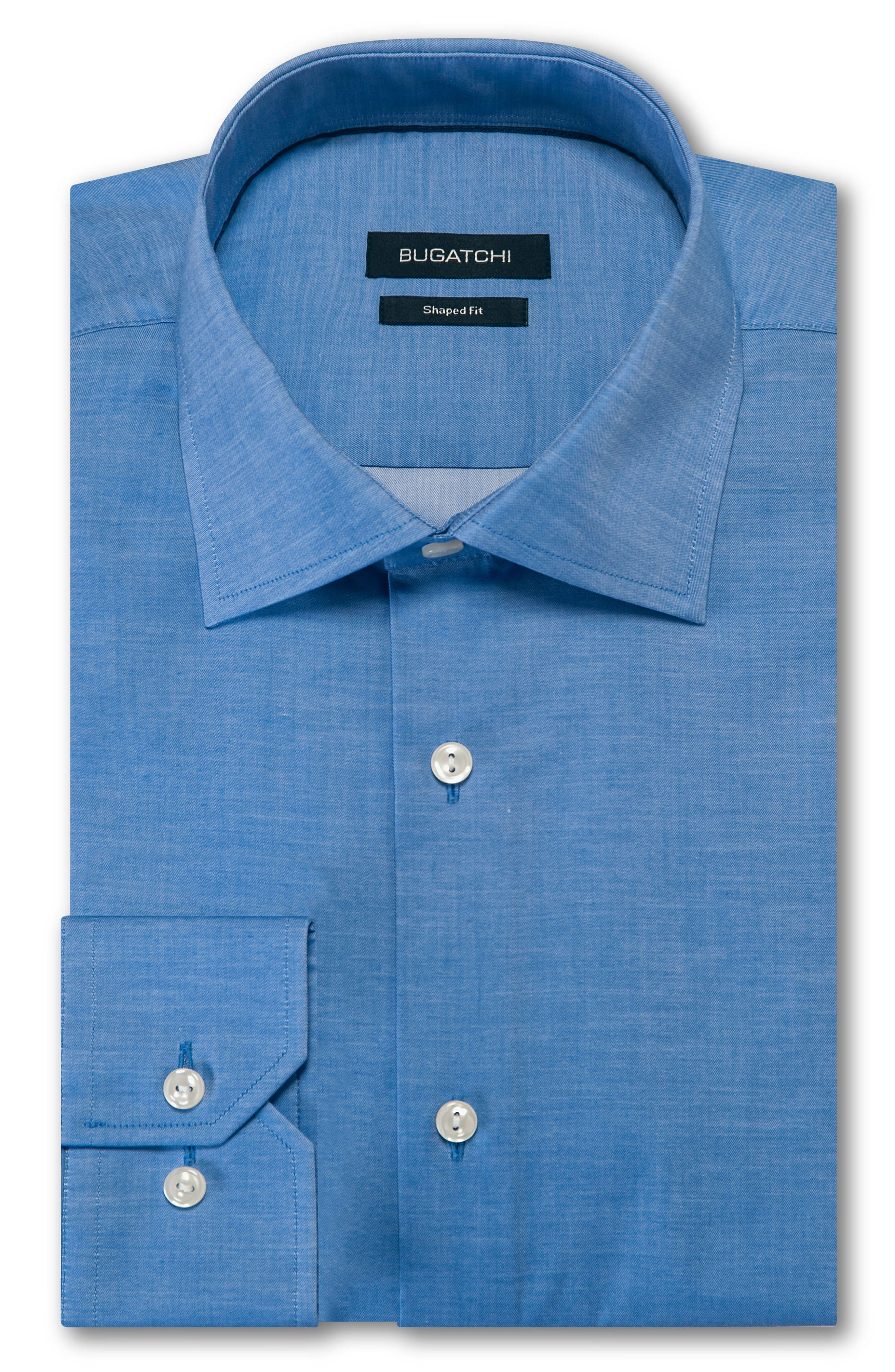 Trim Fit Solid Dress Shirt,                         Main,                         color, Navy
