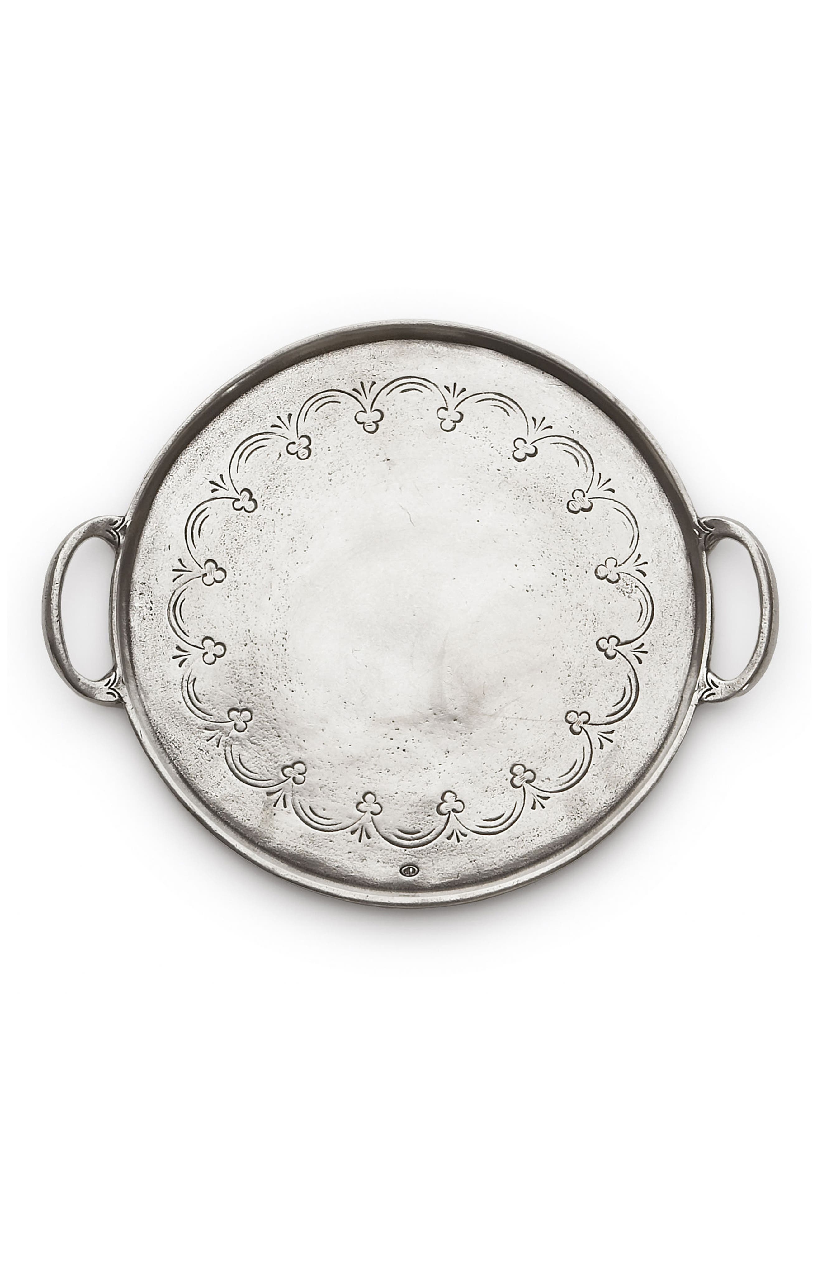 Vintage Round Pewter Serving Tray,                         Main,                         color, Silver