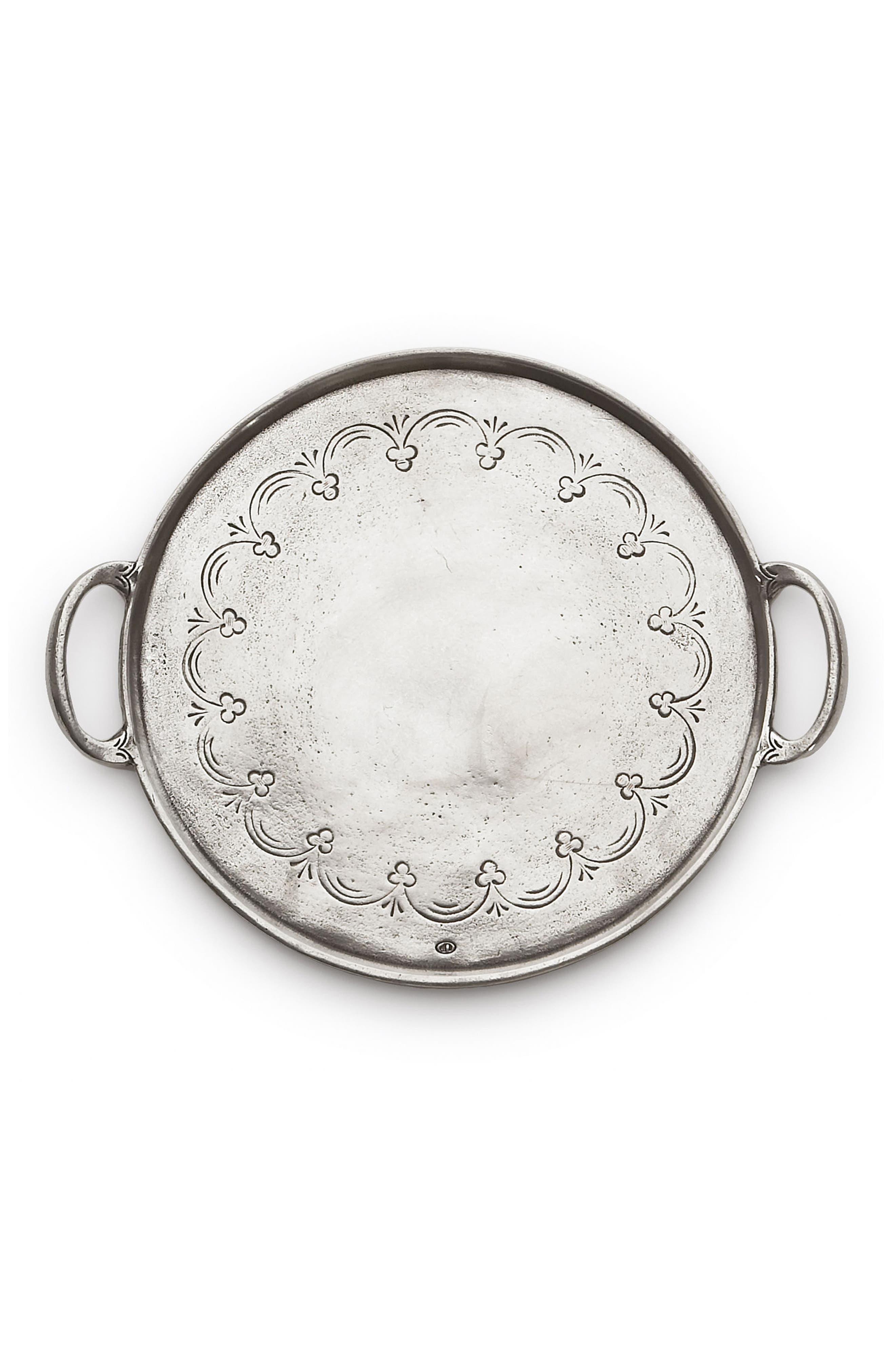 Arte Italica Vintage Round Pewter Serving Tray