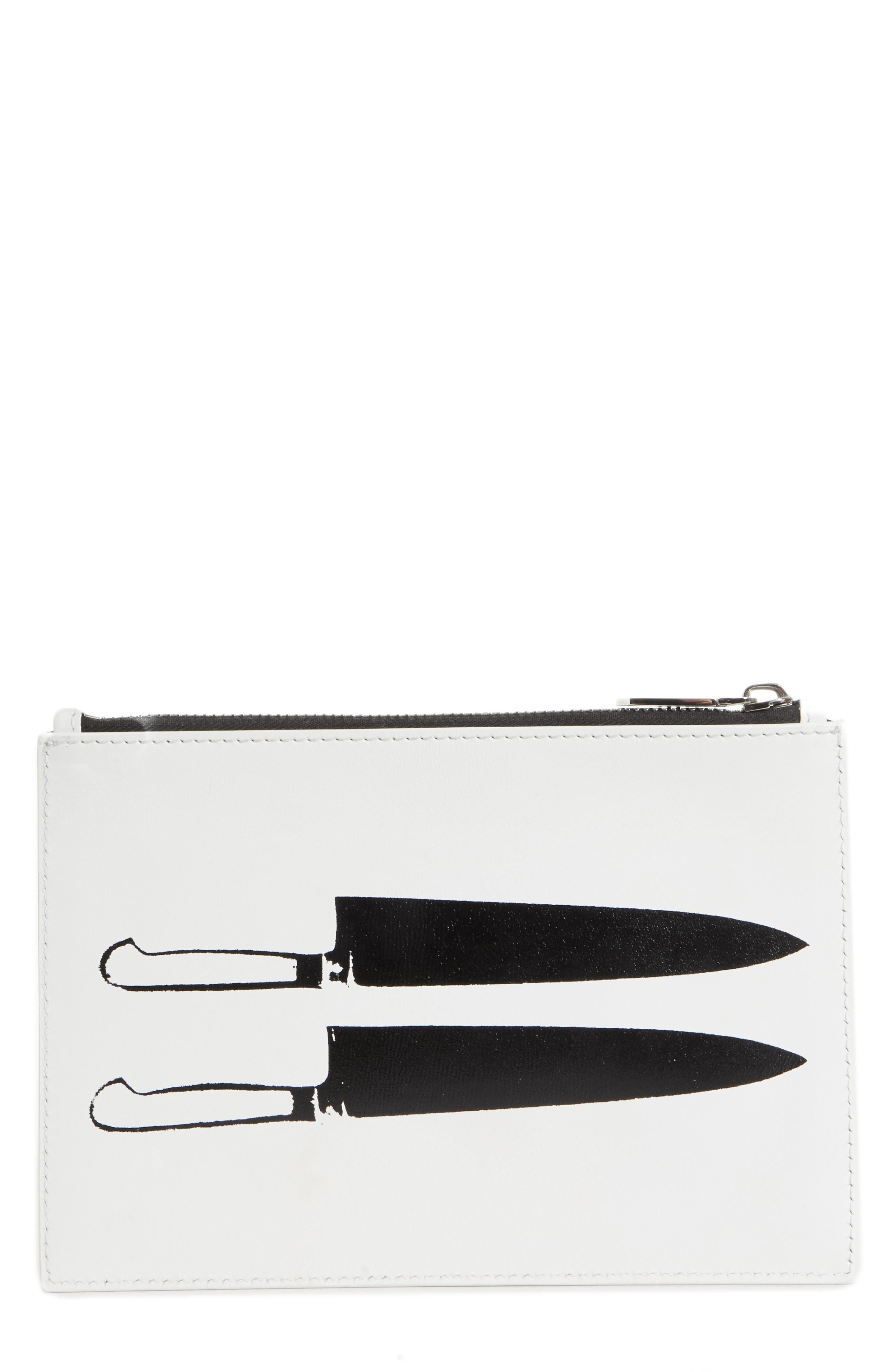 x Andy Warhol Foundation Knives Leather Pouch,                             Main thumbnail 1, color,                             White/ Black