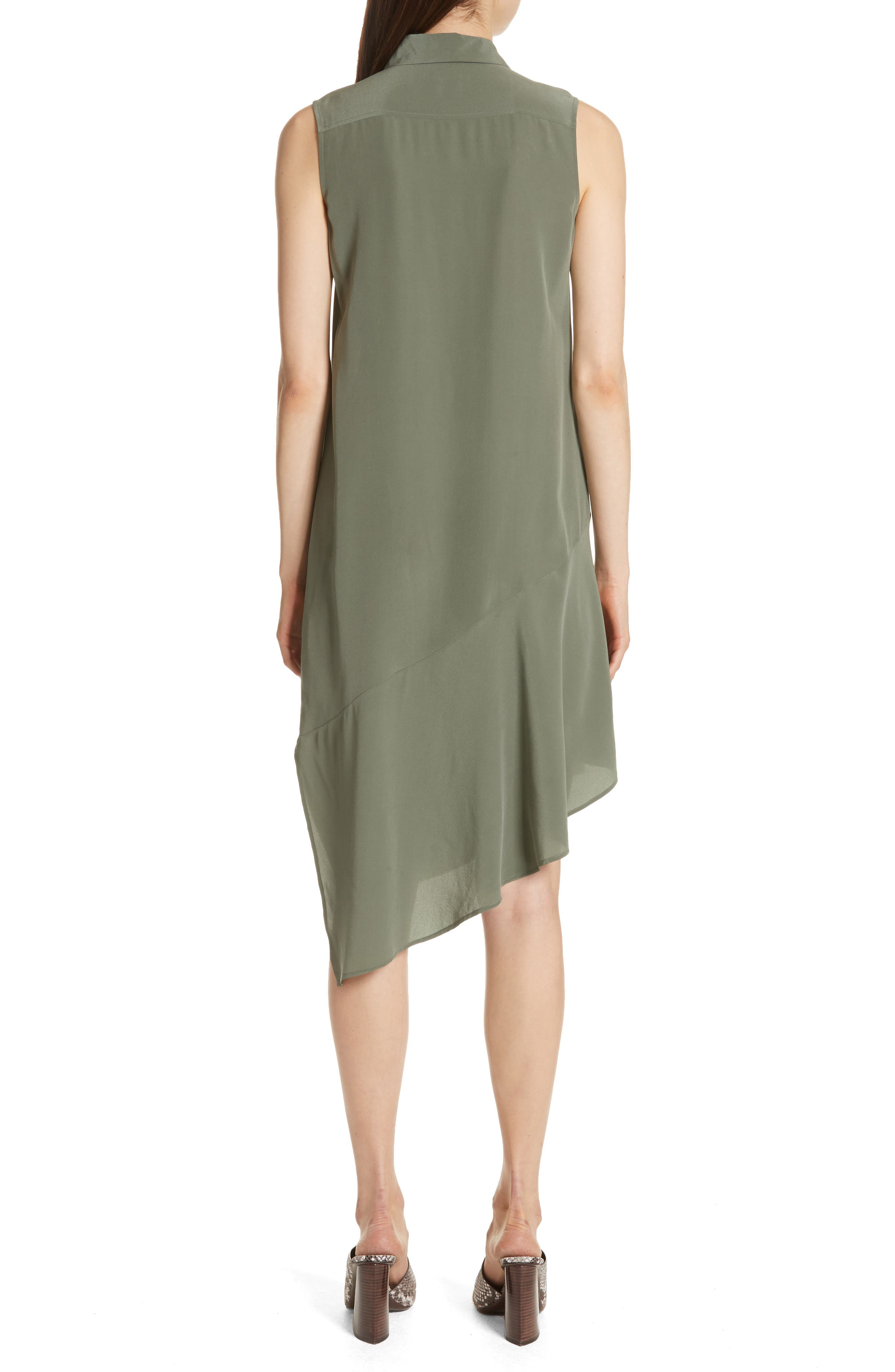 Tira Asymmetrical Hem Silk Shirtdress,                             Alternate thumbnail 2, color,                             Camouflage