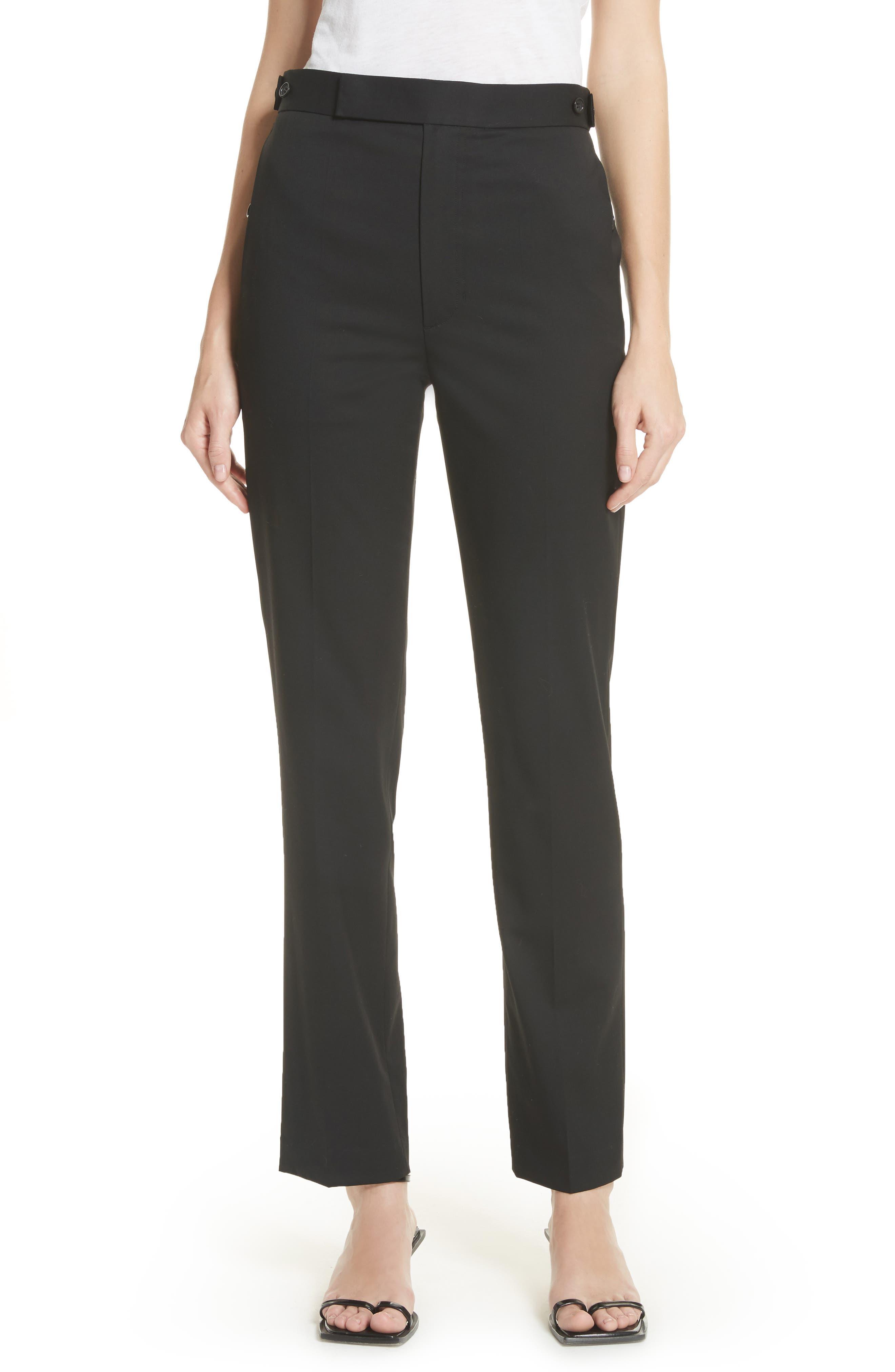 Straight Leg Wool Trousers,                         Main,                         color, Black