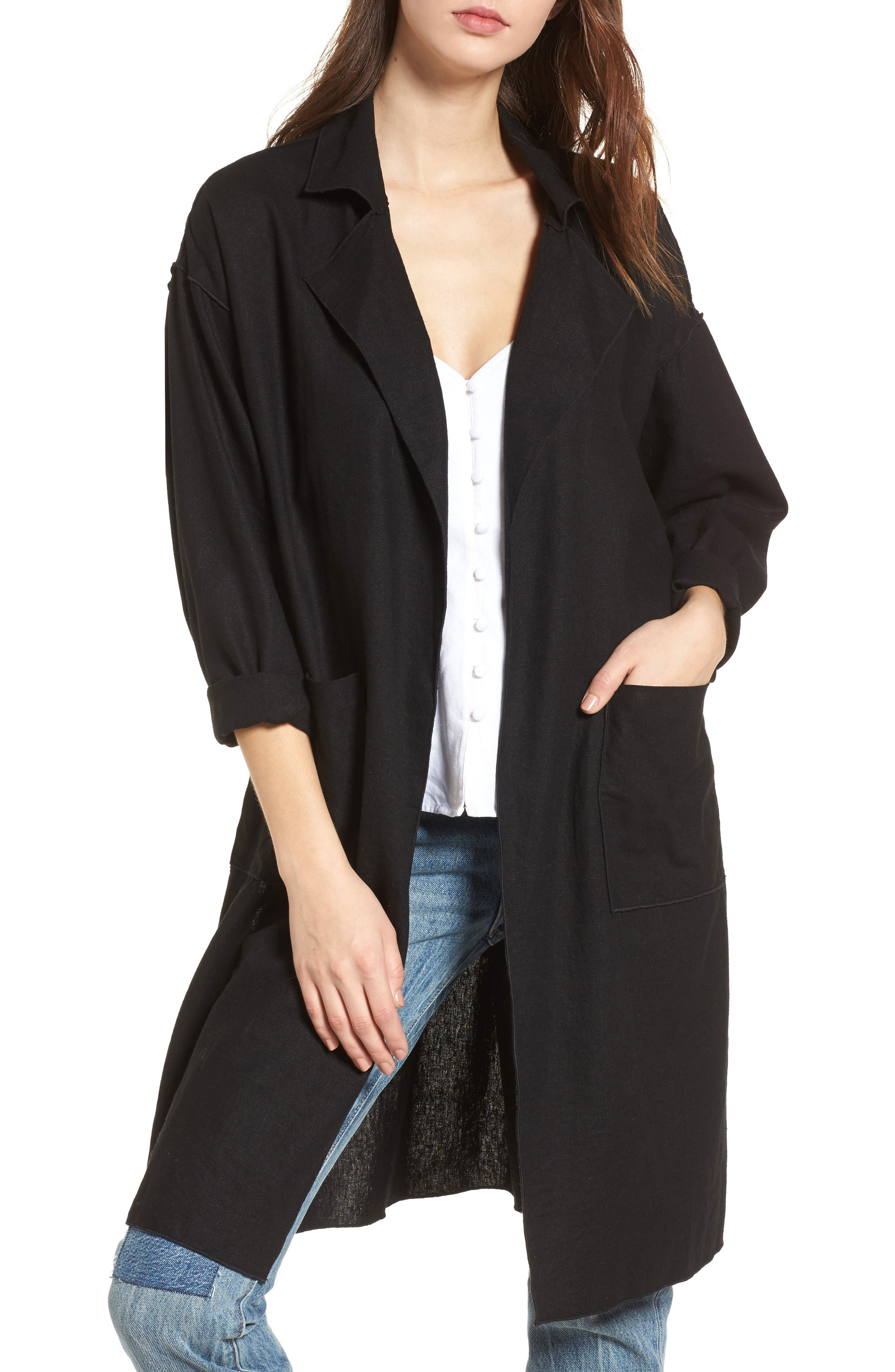 Linen Blend Duster,                         Main,                         color, Black