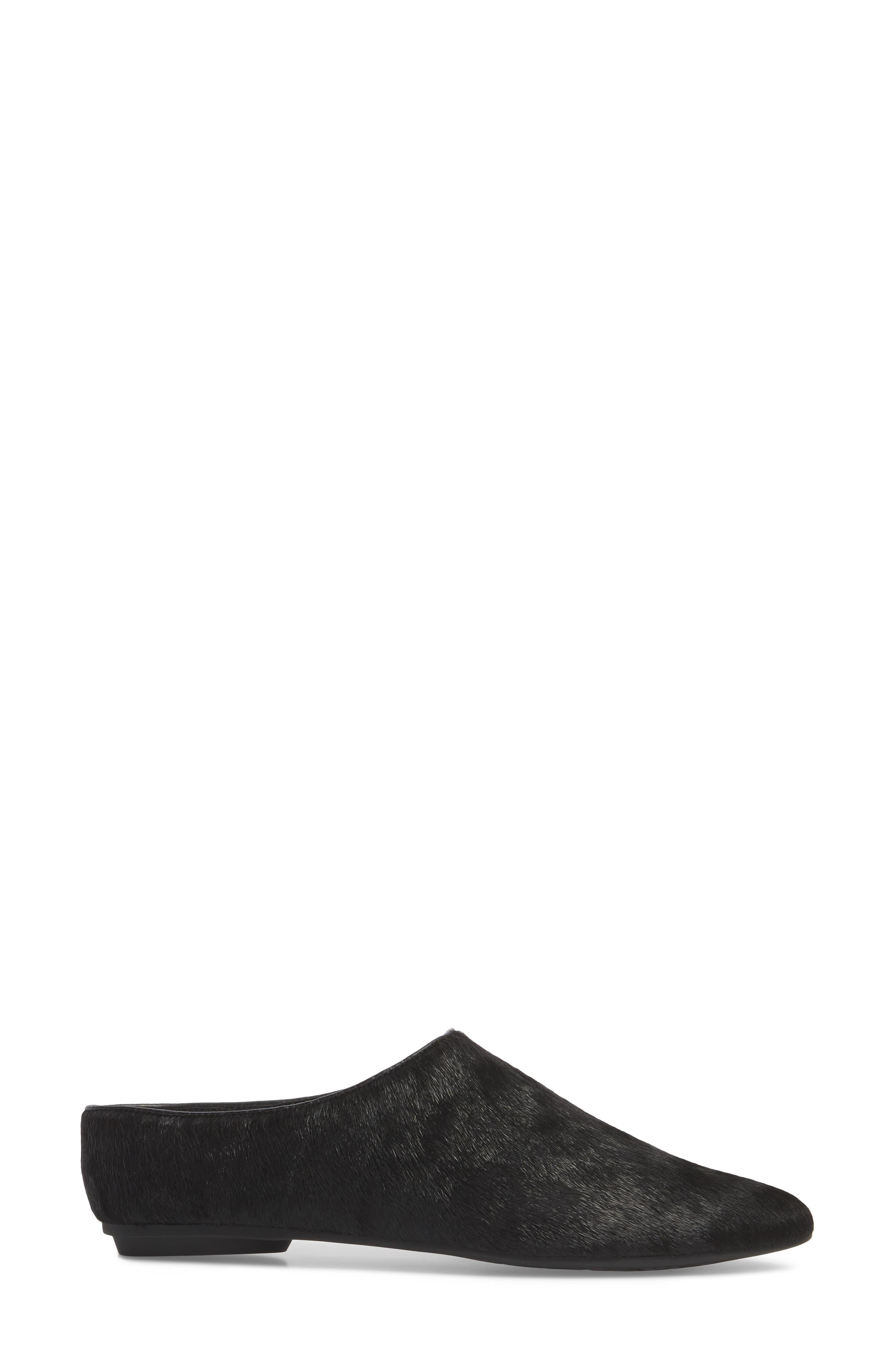 Elene Genuine Calf Hair Flat,                             Alternate thumbnail 3, color,                             Black Leather